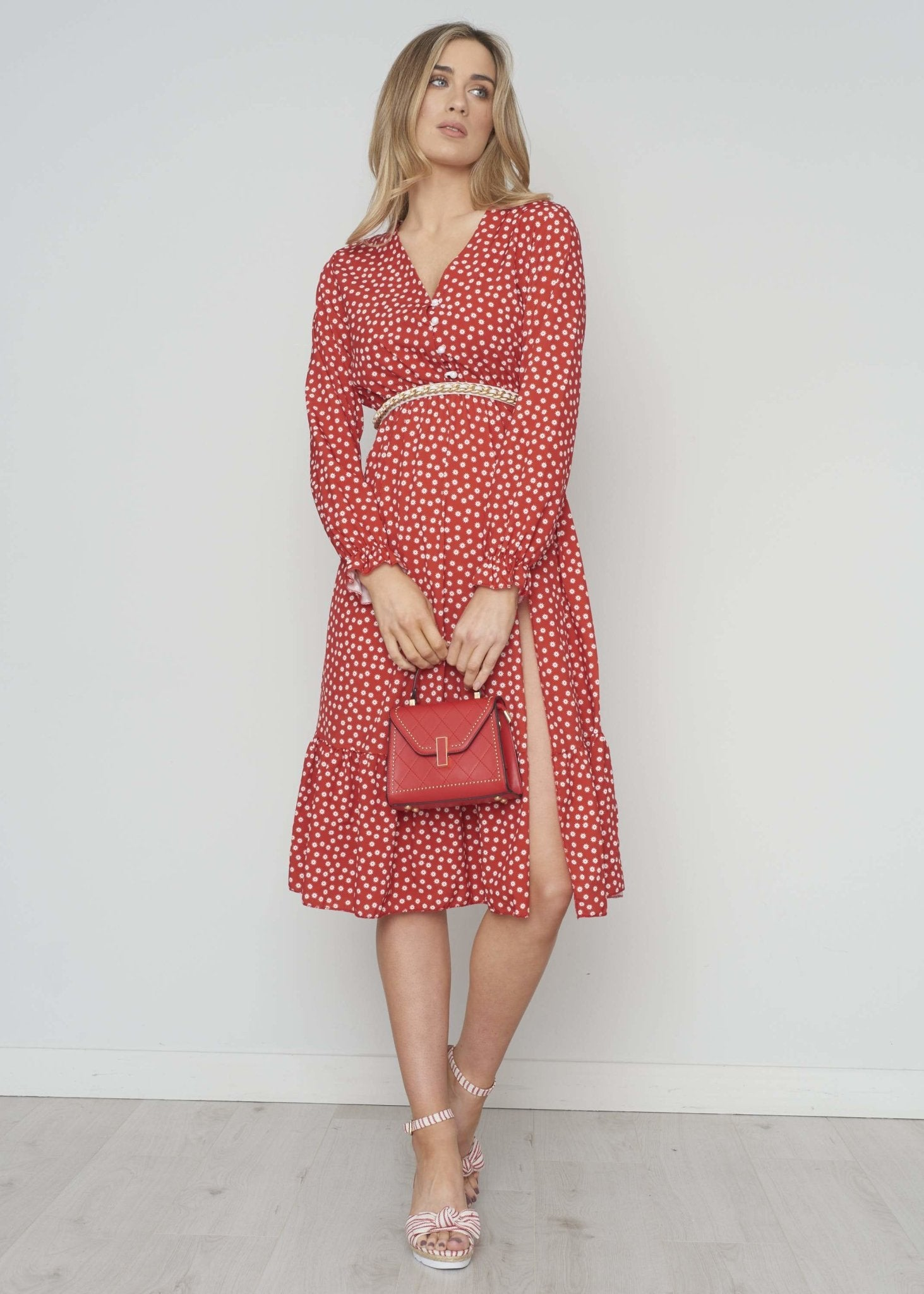 Elaine Printed Tiered Midi Dress In Red - The Walk in Wardrobe