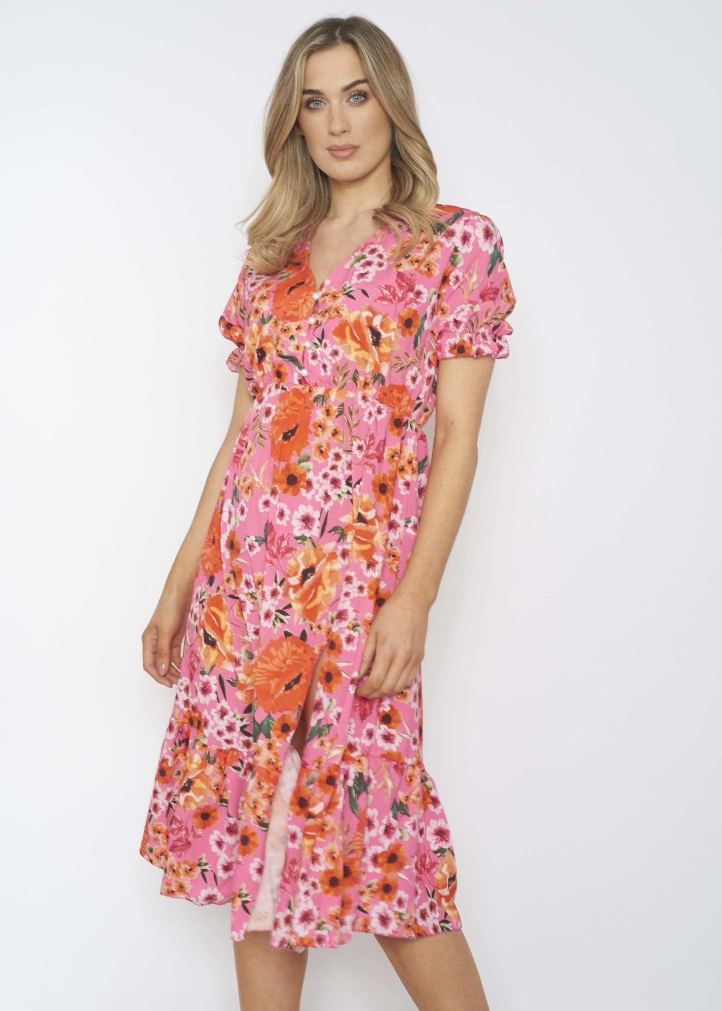 Elaine Tiered Midi Dress In Pink Floral - The Walk in Wardrobe