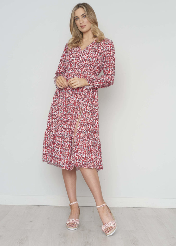 Elaine Tiered Midi Dress In Red Floral - The Walk in Wardrobe