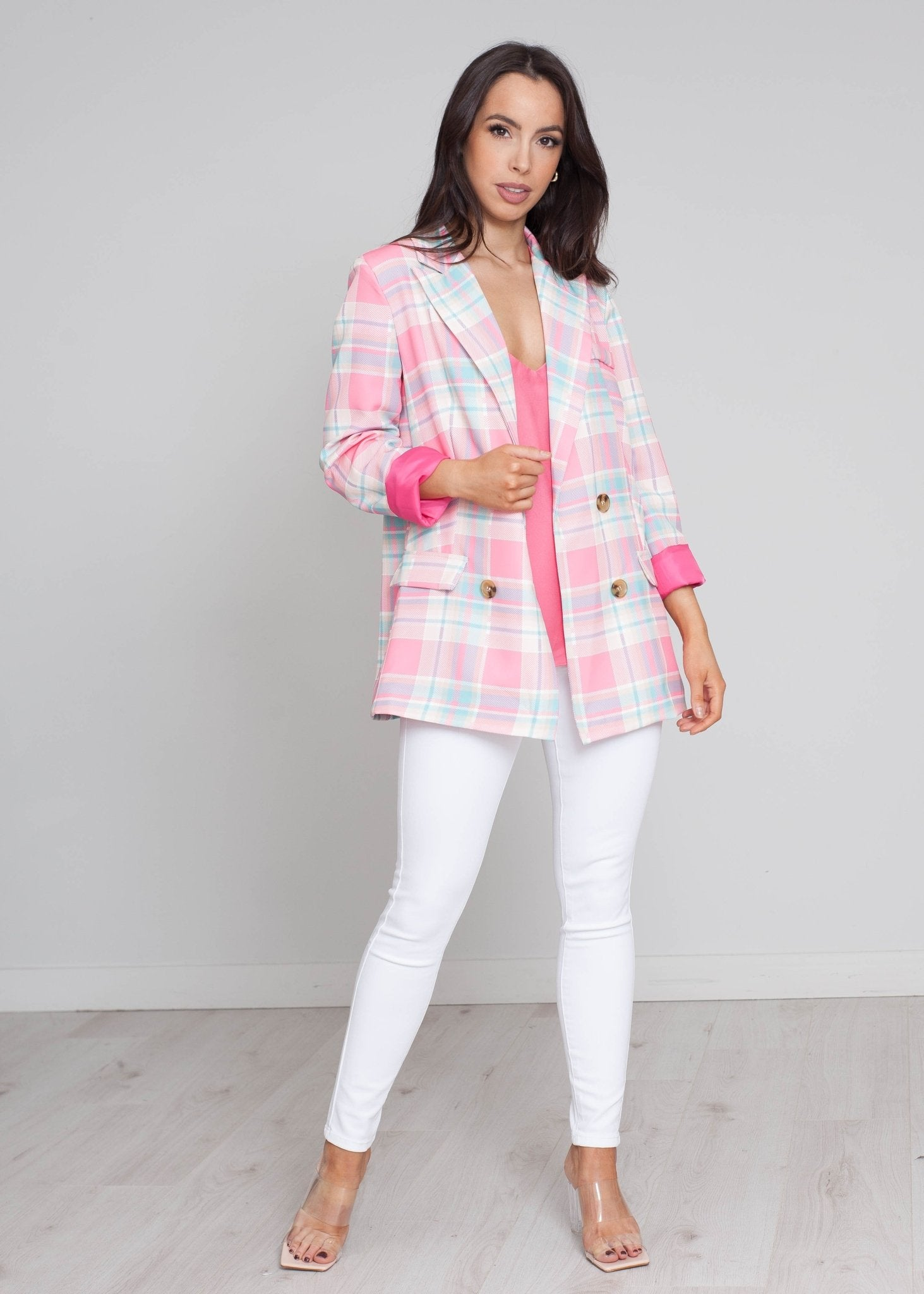 Elsa Blazer In Pink Check - The Walk in Wardrobe