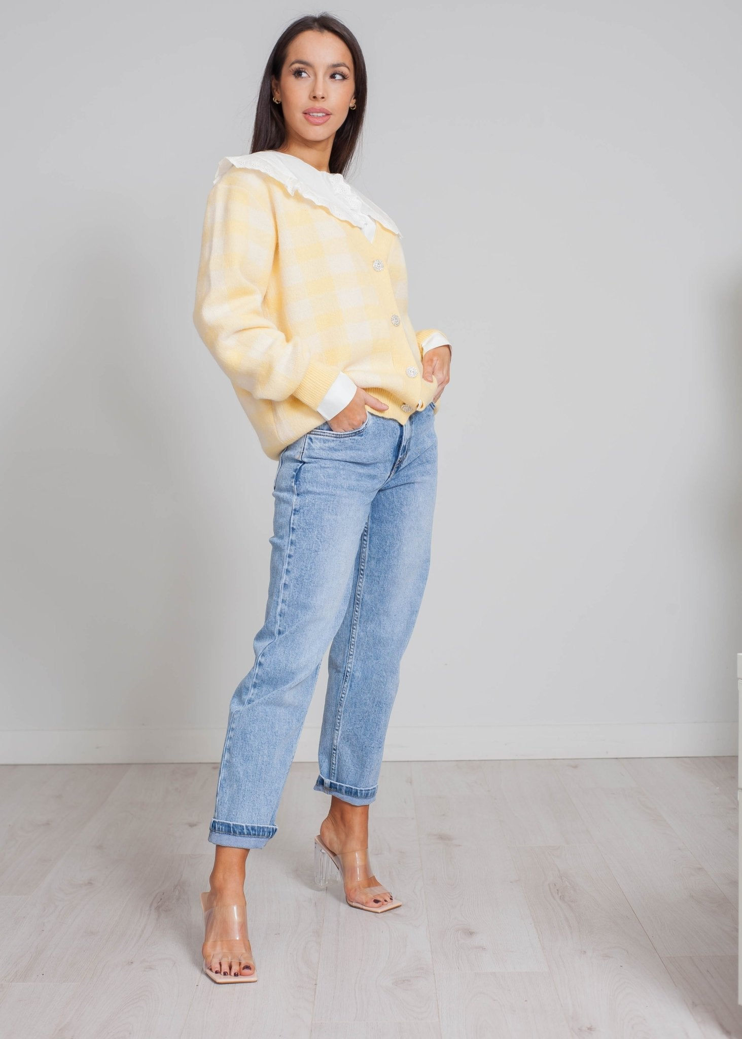 Elsa Check Cardigan In Lemon - The Walk in Wardrobe