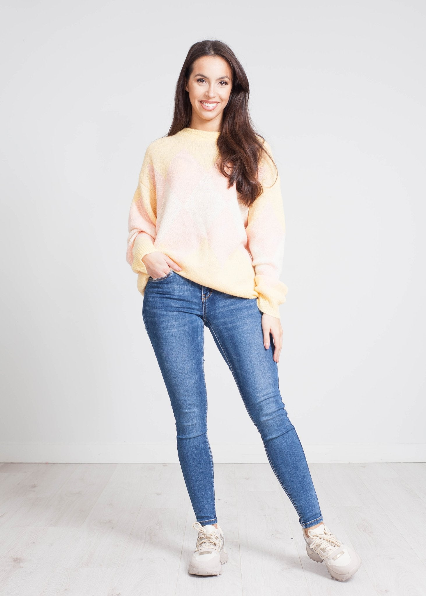 Elsa Diamond Knit Jumper In Lemon Mix - The Walk in Wardrobe