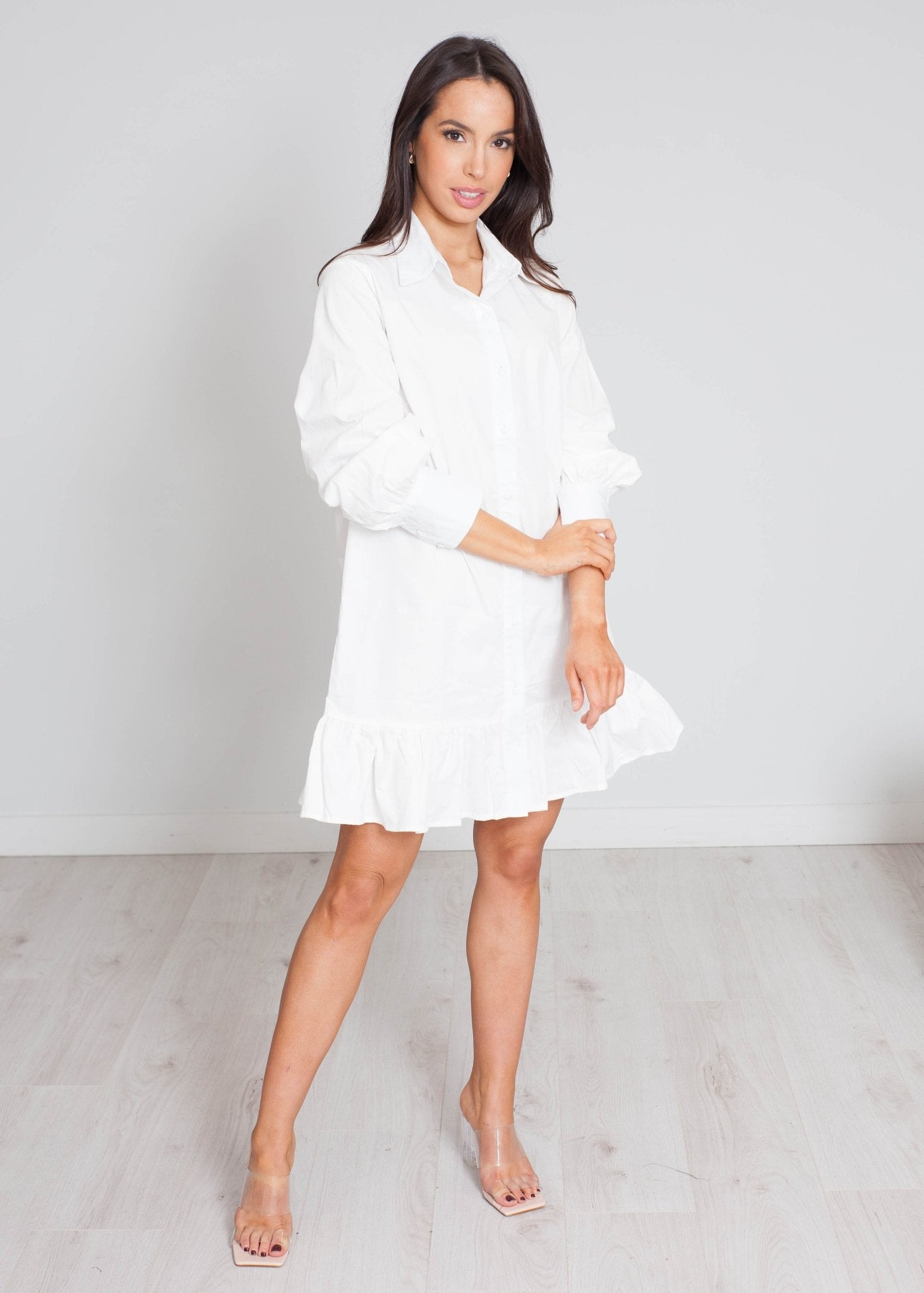 Elsa Frill Hem Shirt Dress In White - The Walk in Wardrobe