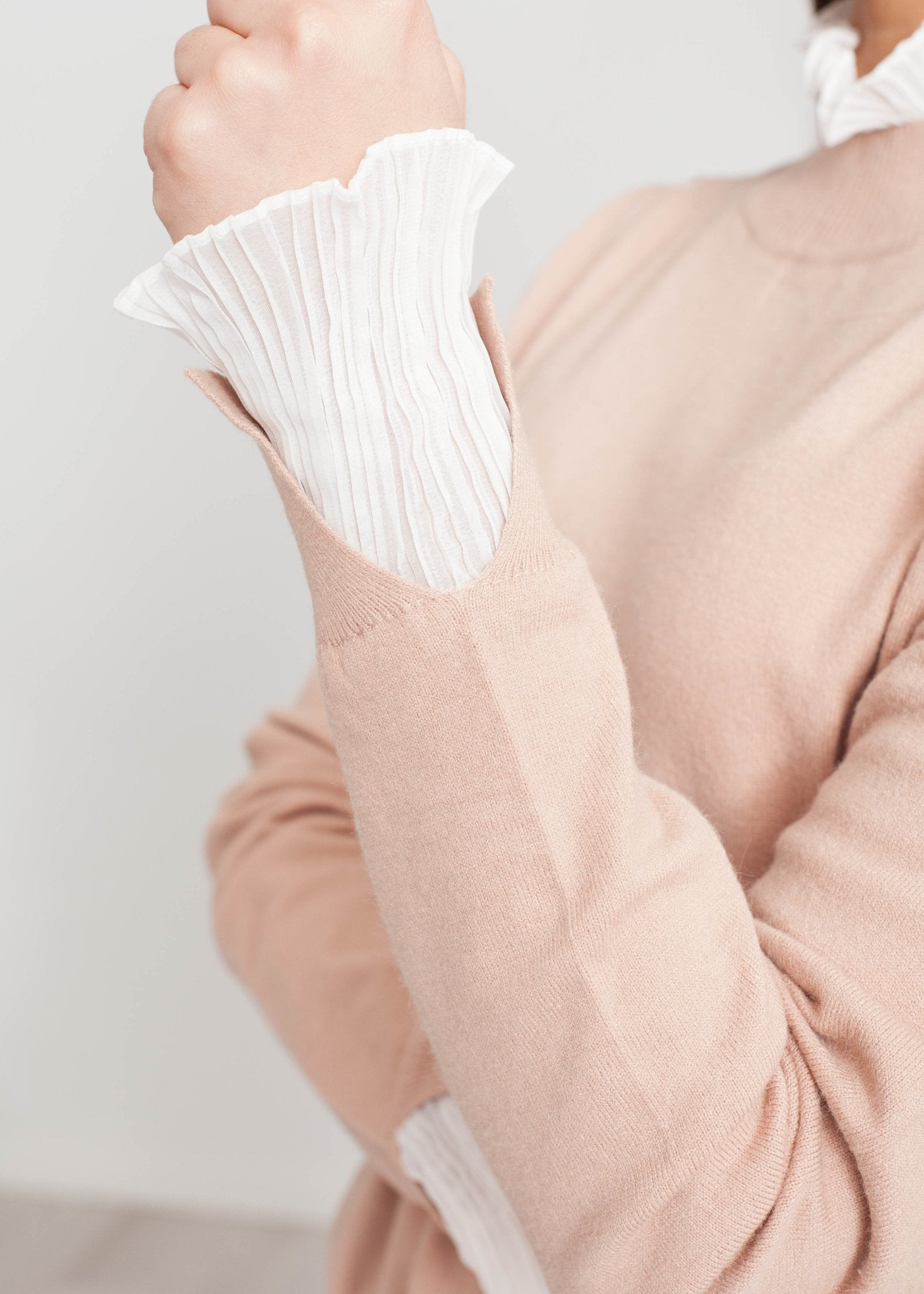 Elsa Jumper With Frill In Blush - The Walk in Wardrobe