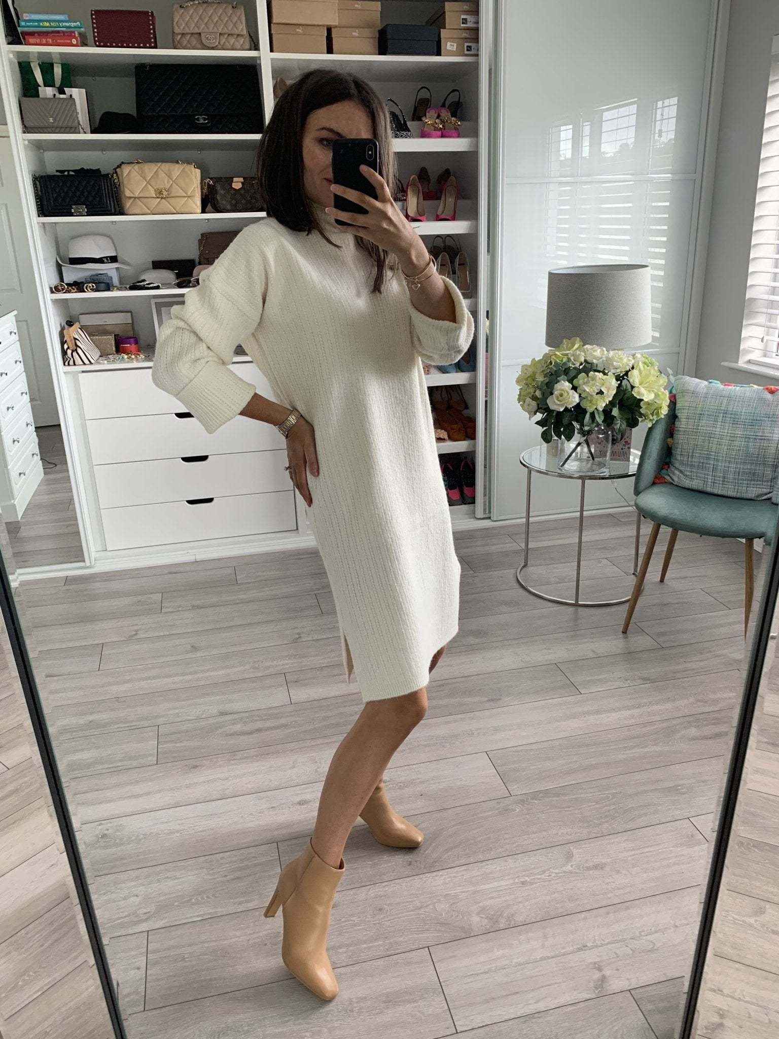 Elsa Knit Dress in Cream - The Walk in Wardrobe