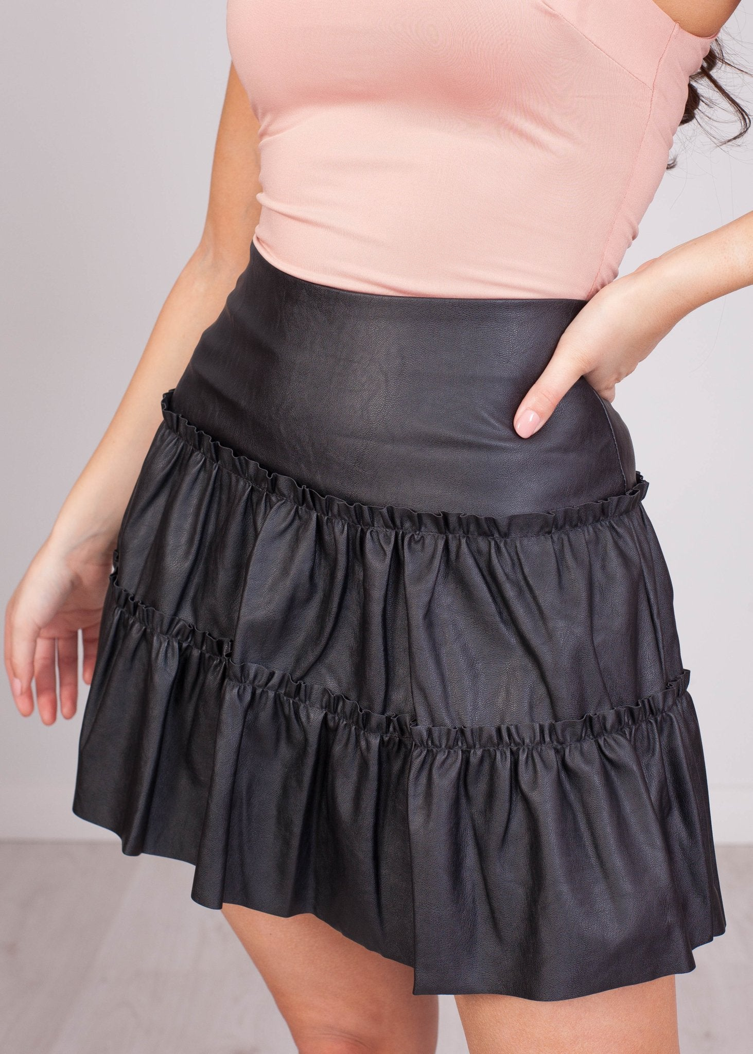 Elsa Leather Frill Mini Skirt - The Walk in Wardrobe