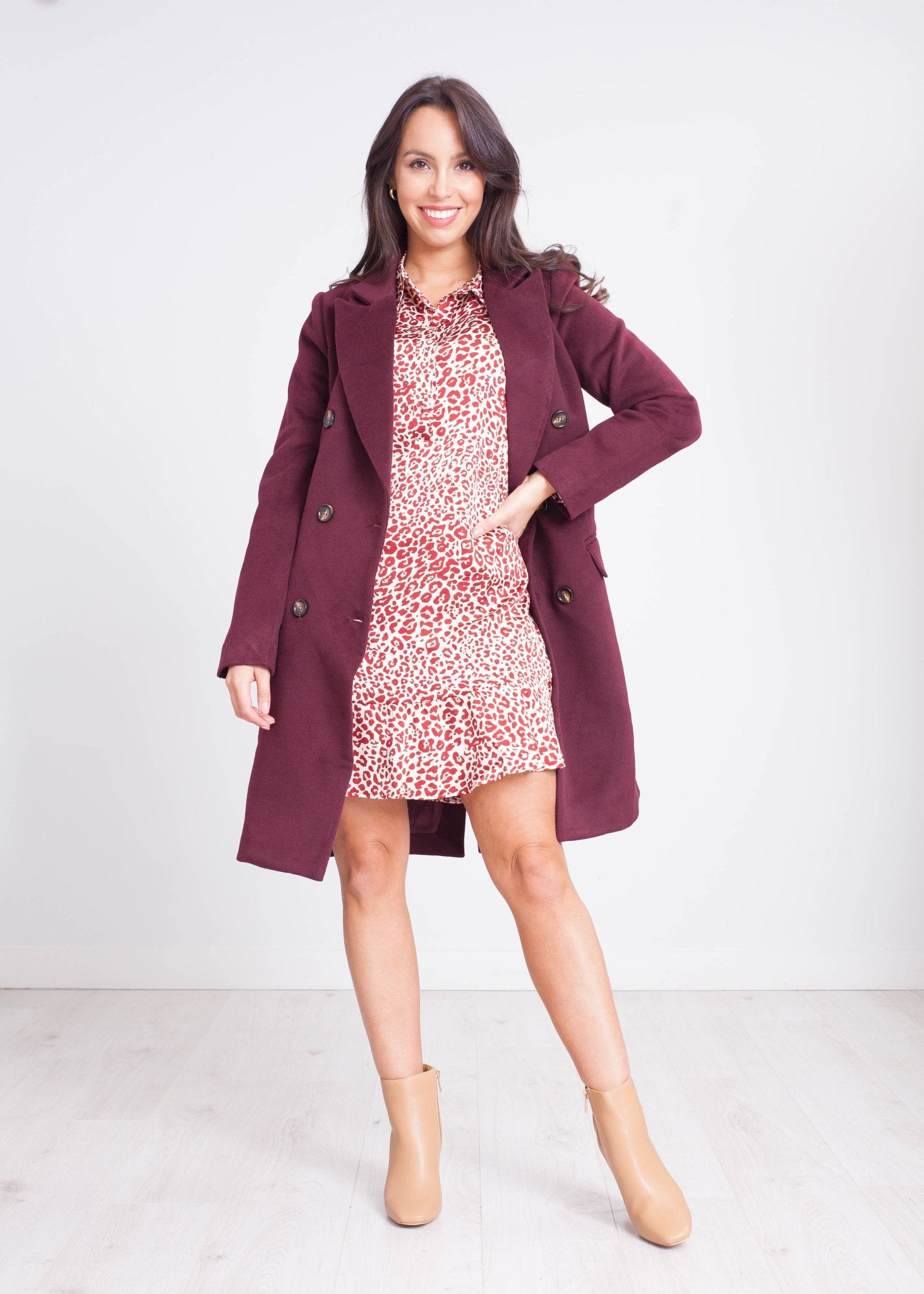 Elsa Leopard Print Mini Dress in Burgundy - The Walk in Wardrobe
