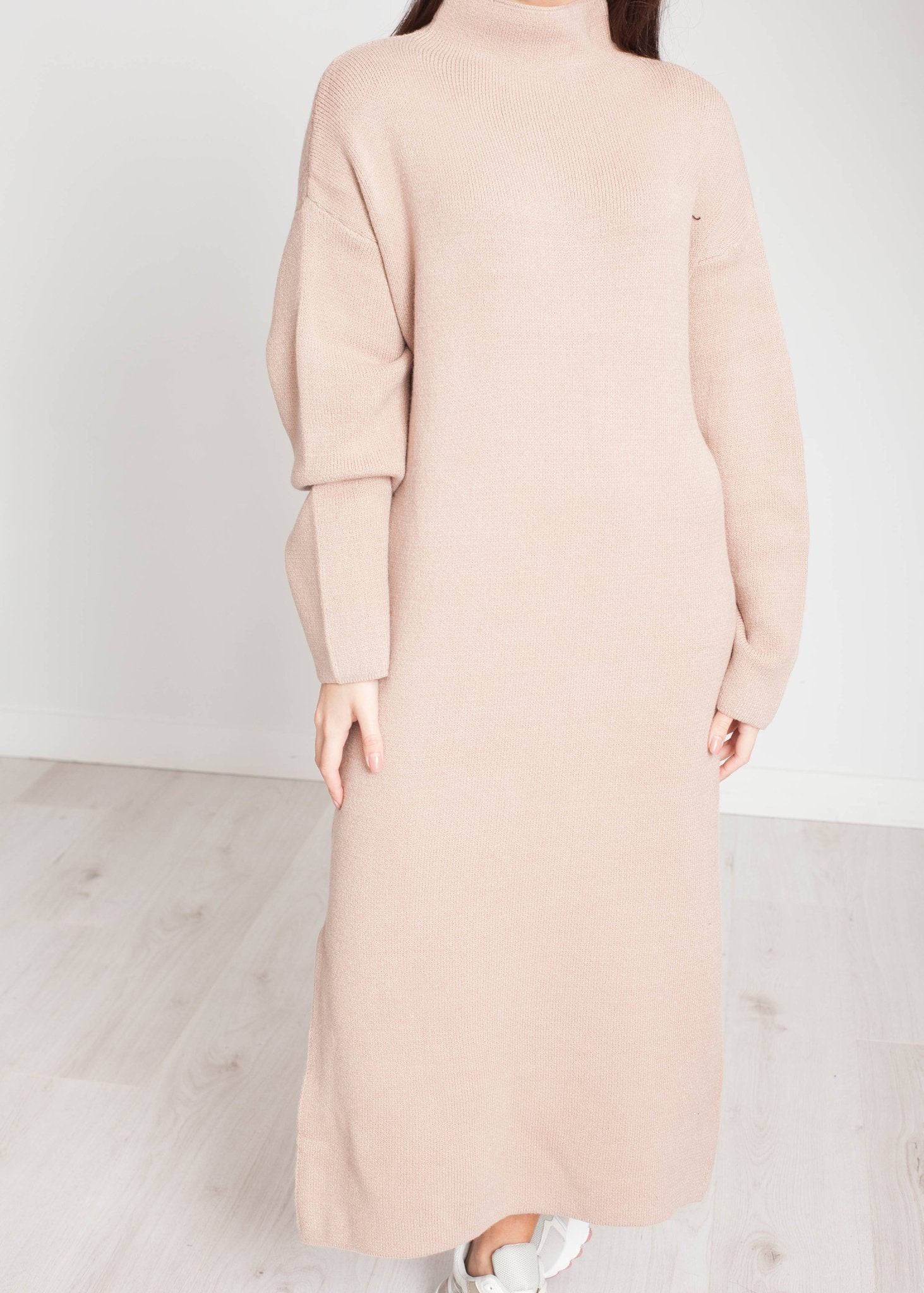 Elsa Longline Knit Dress In Beige - The Walk in Wardrobe