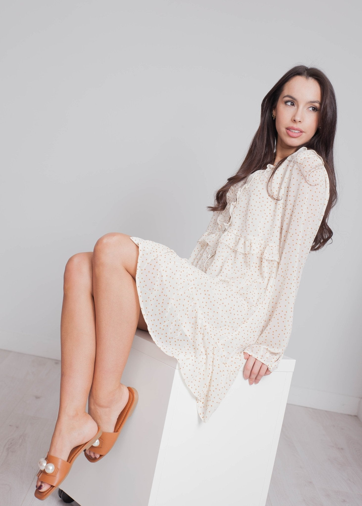 Elsa Polka Dot Mini Dress In Cream - The Walk in Wardrobe