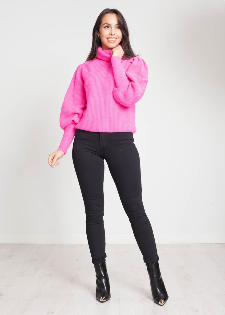 Elsa Polo Neck In Hot Pink - The Walk in Wardrobe