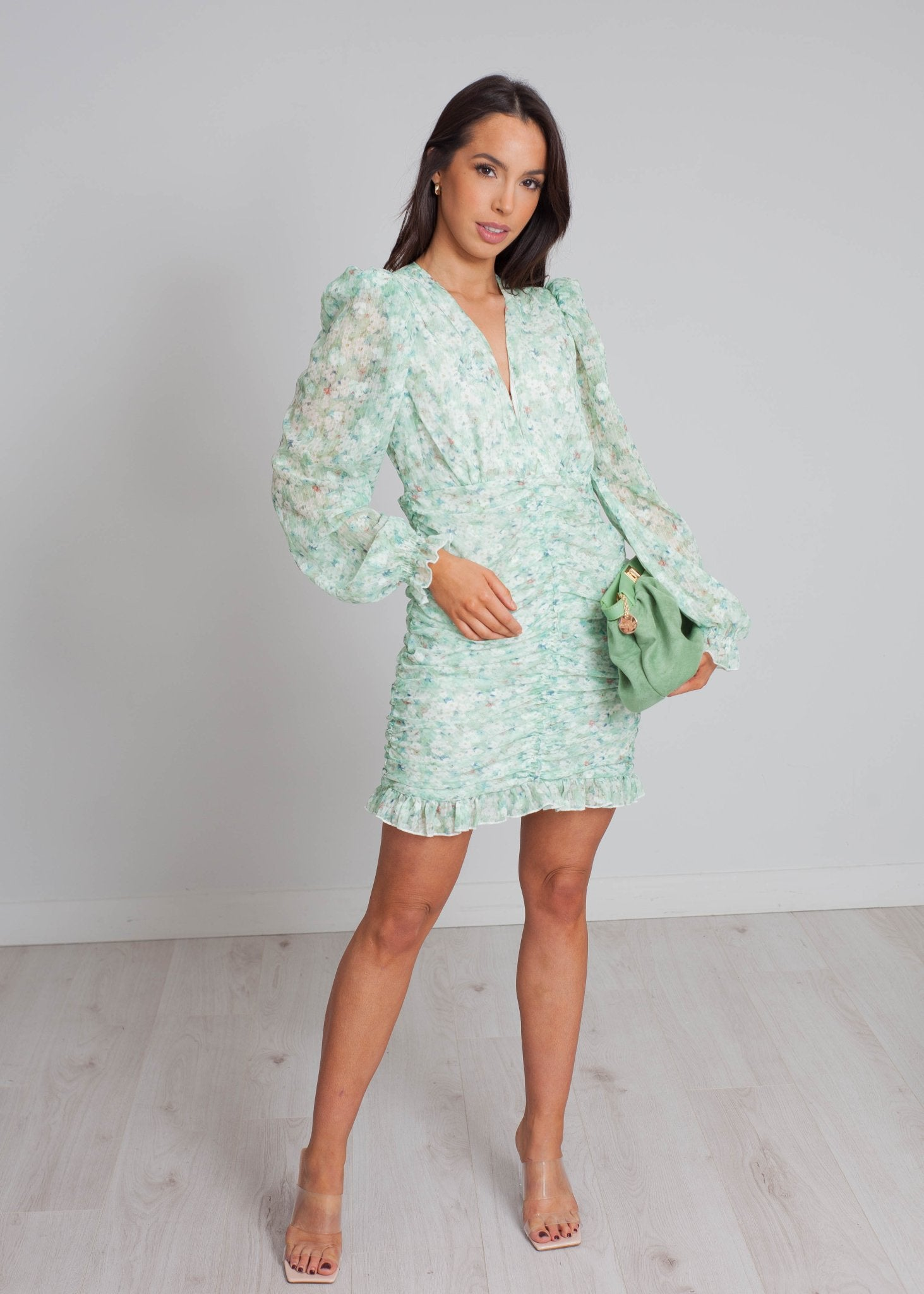 Elsa Ruched Floral Dress In Green - The Walk in Wardrobe