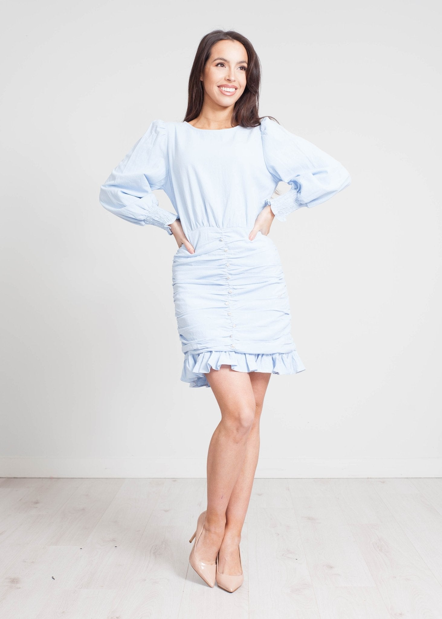 Elsa Ruched Mini Dress In Powder Blue - The Walk in Wardrobe