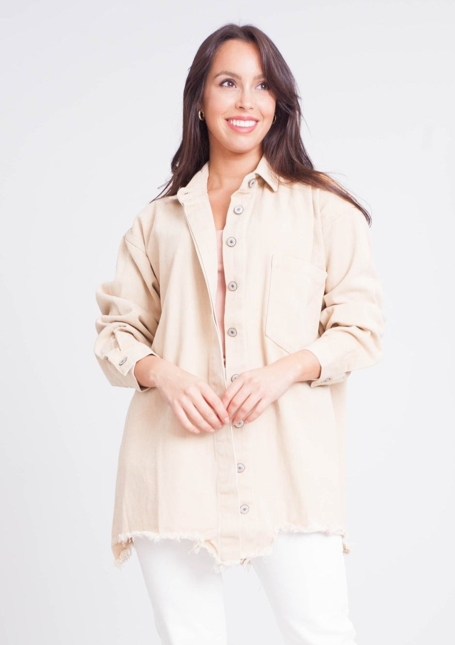 Elsa Shacket in Beige - The Walk in Wardrobe
