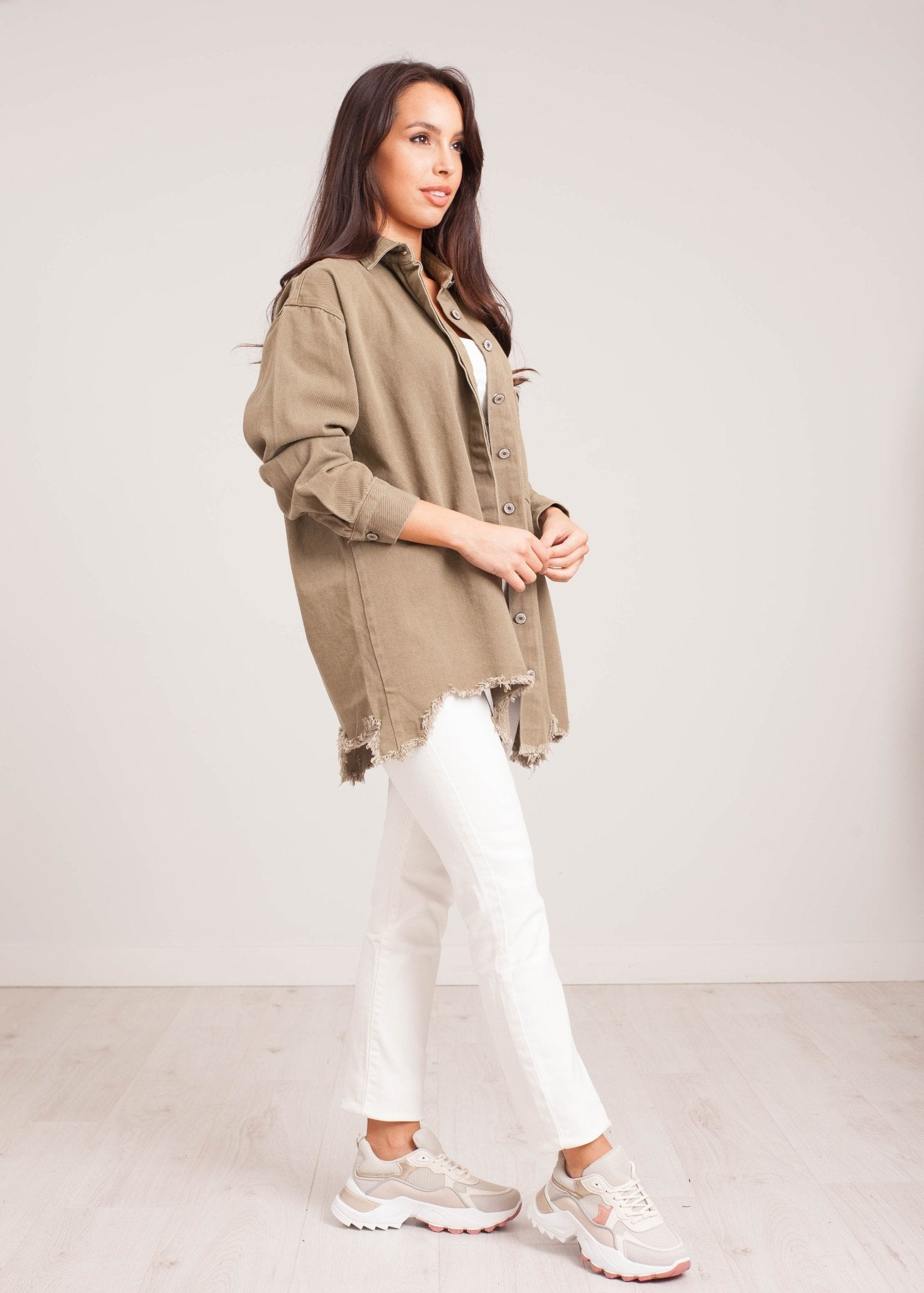 Elsa Shacket in Khaki - The Walk in Wardrobe