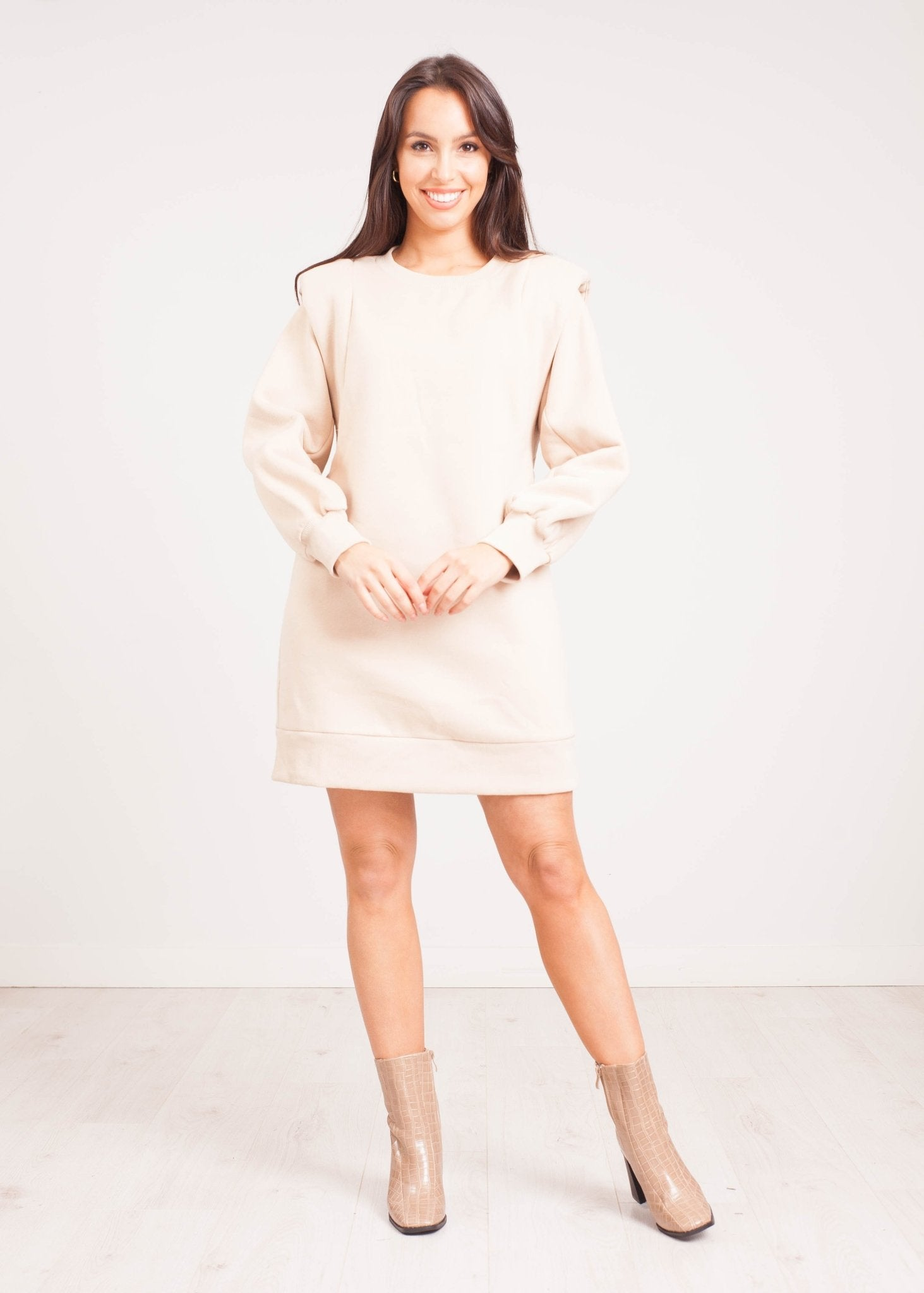 Elsa Shoulder Pad Jumper Dress in Beige - The Walk in Wardrobe