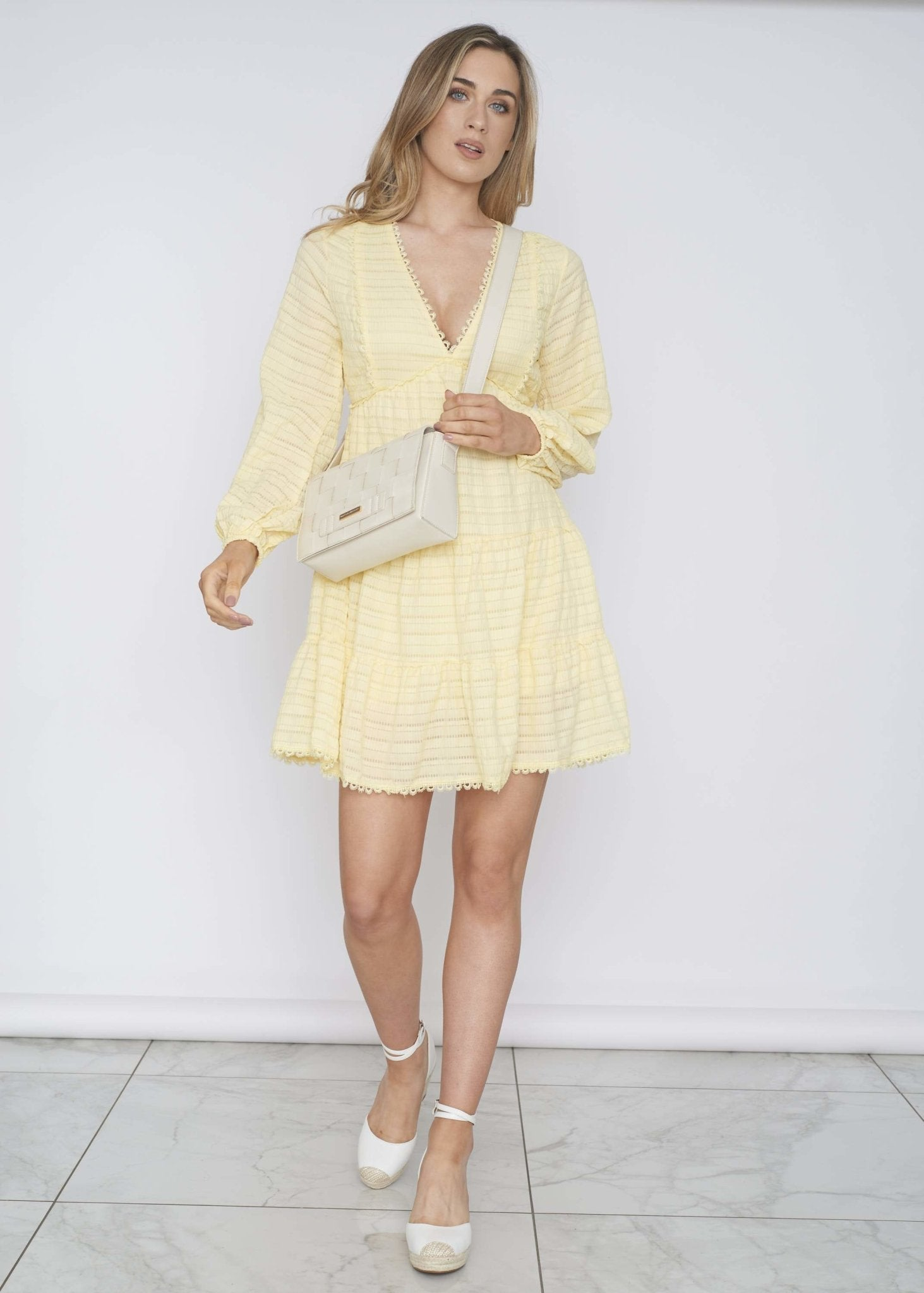 Elsa Tiered Dress In Lemon - The Walk in Wardrobe