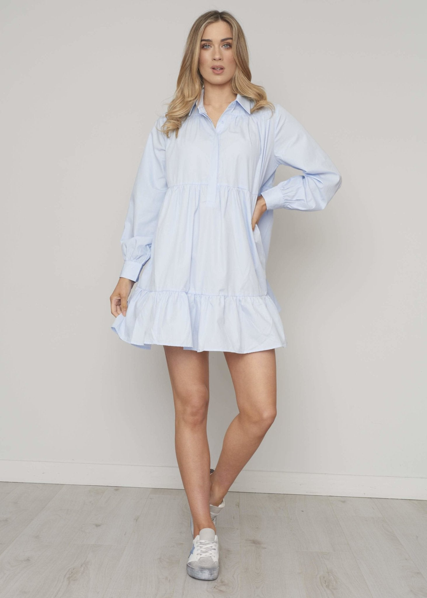 Elsa Tiered Shirt Dress In Blue - The Walk in Wardrobe