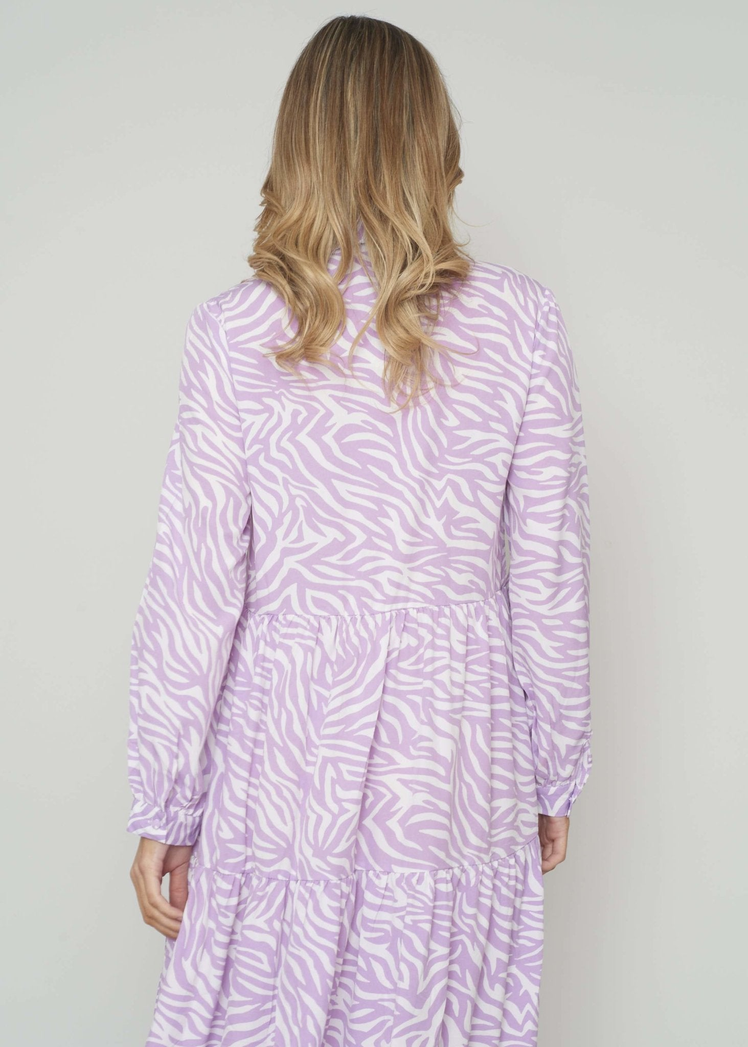 Elsa Zebra Print Dress In Lilac - The Walk in Wardrobe