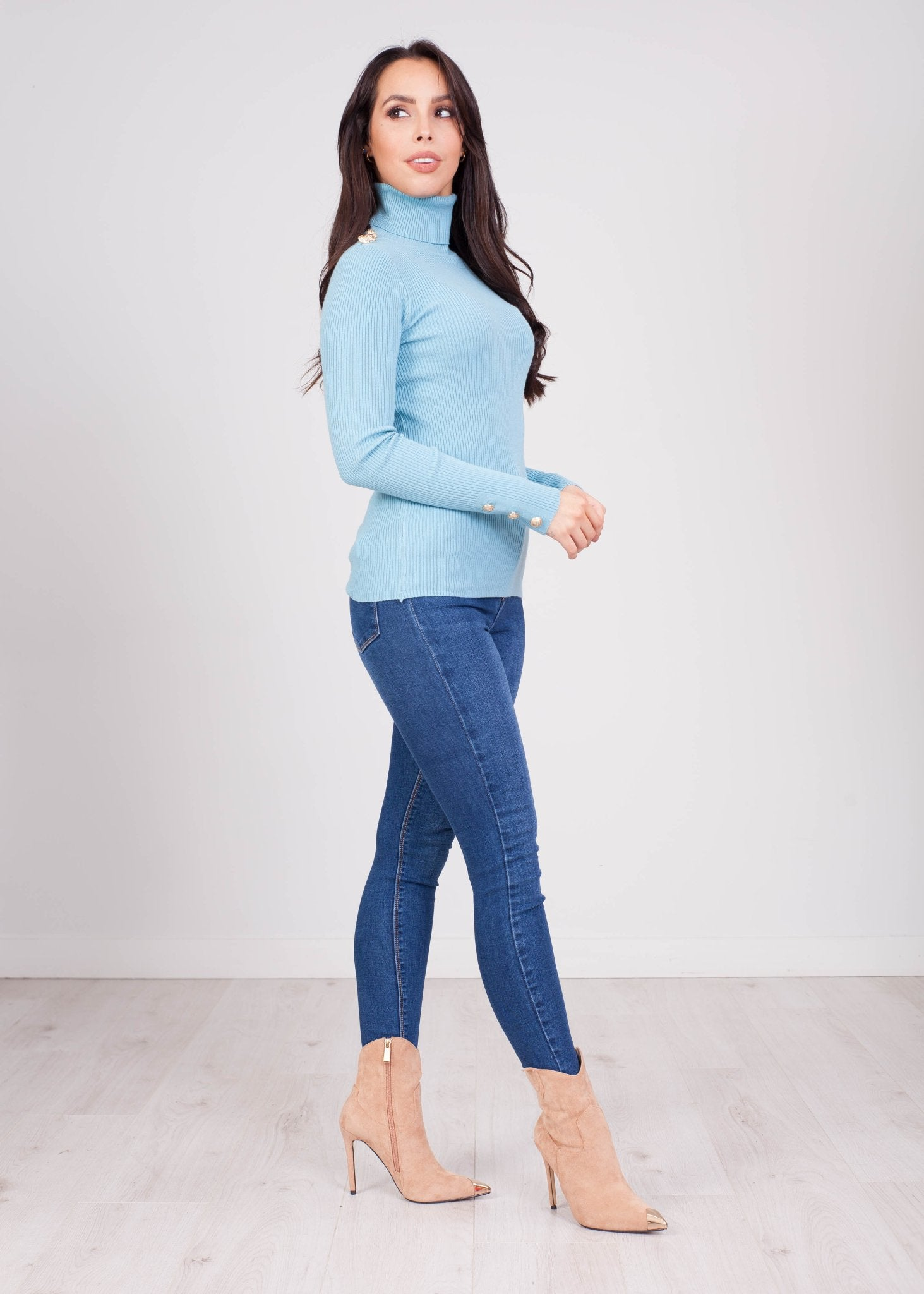 Emilia Aqua Polo Neck Top - The Walk in Wardrobe