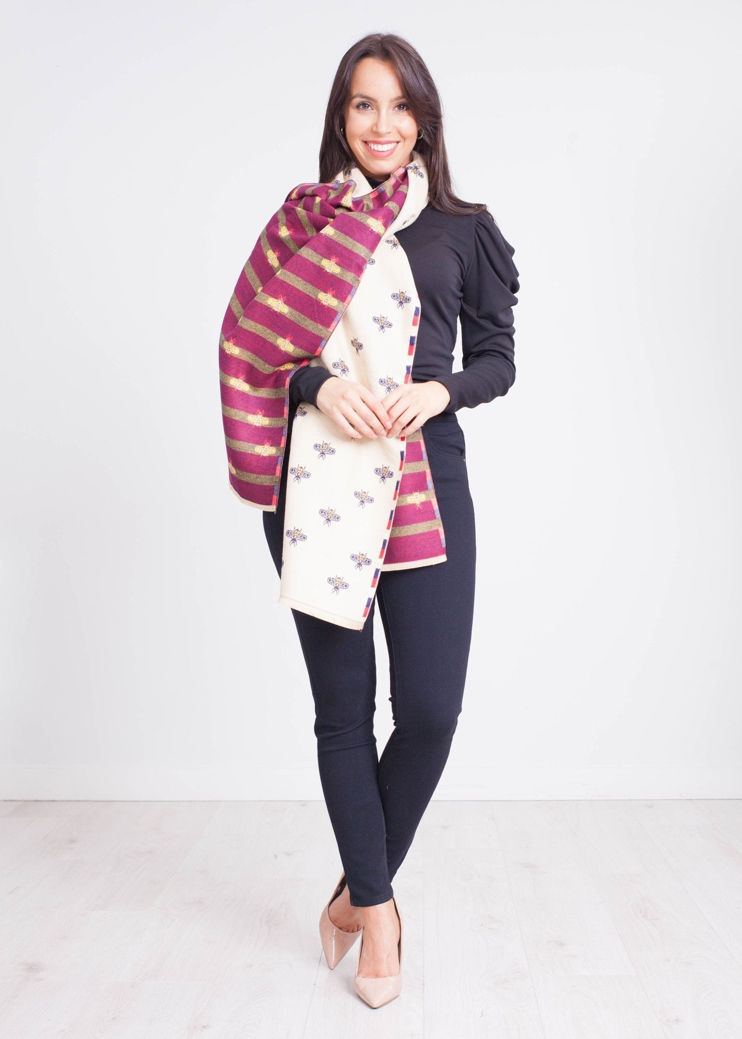 Emilia Bee Scarf in Beige - The Walk in Wardrobe