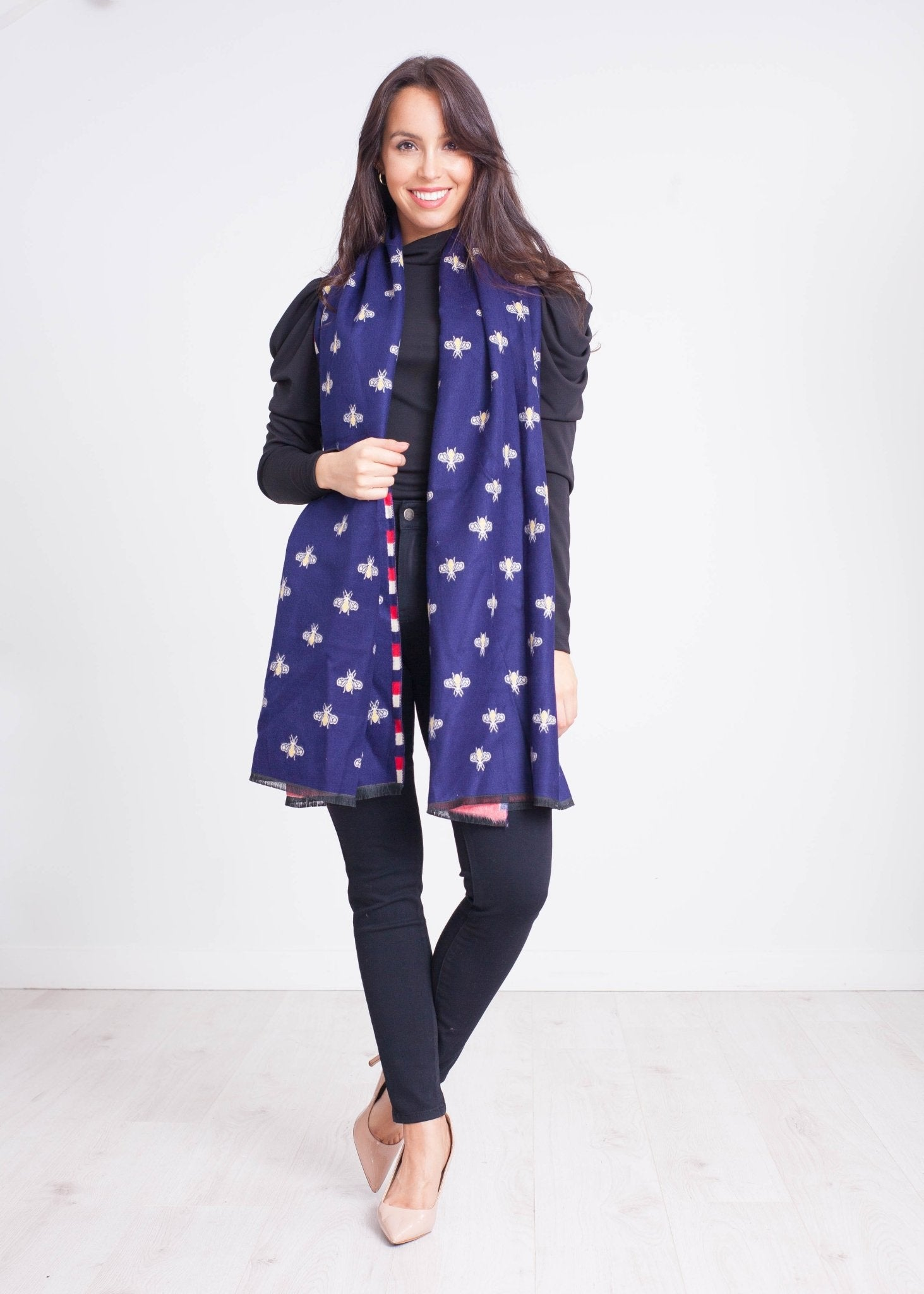Emilia Bee Scarf In Navy - The Walk in Wardrobe