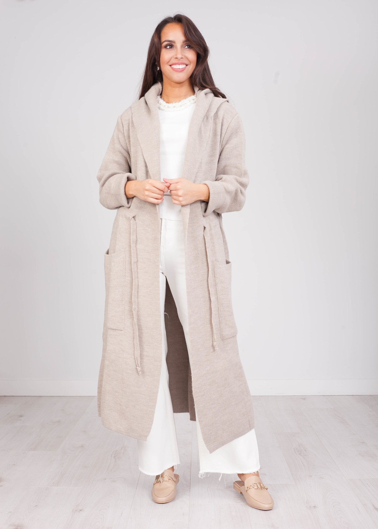 Emilia Beige Longline Cardigan - The Walk in Wardrobe
