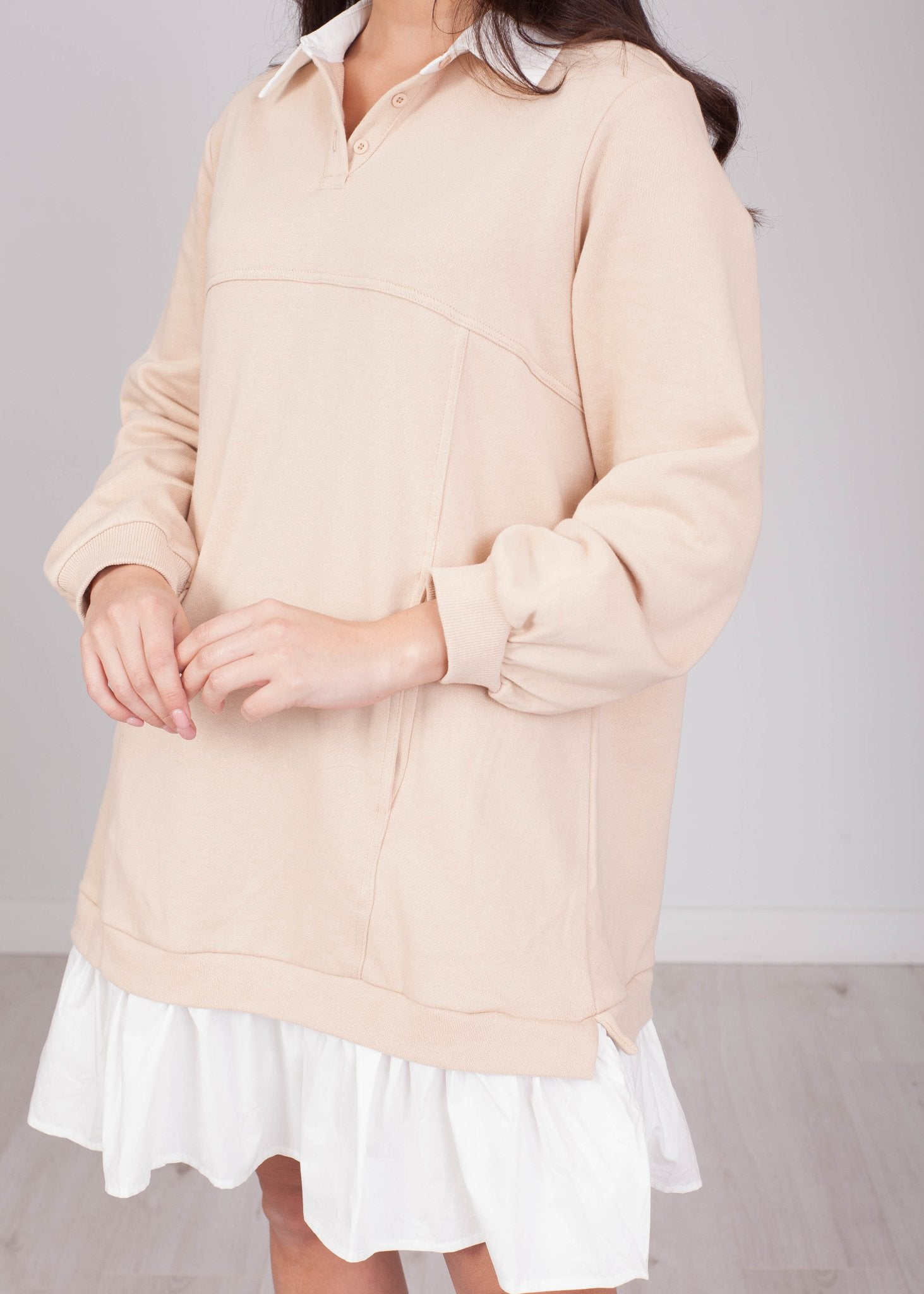Emilia Beige Shirt & Jumper Dress - The Walk in Wardrobe
