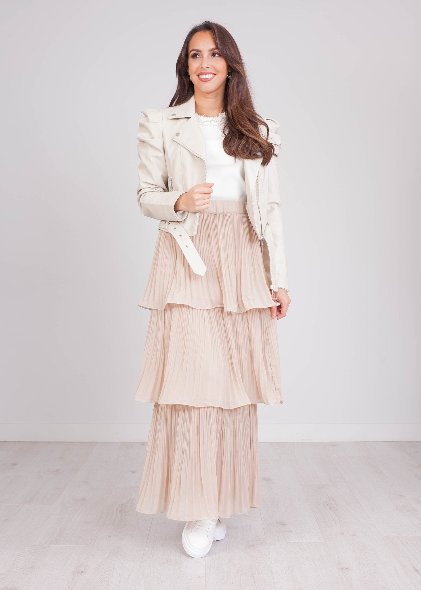 Emilia Beige Tiered Skirt - The Walk in Wardrobe