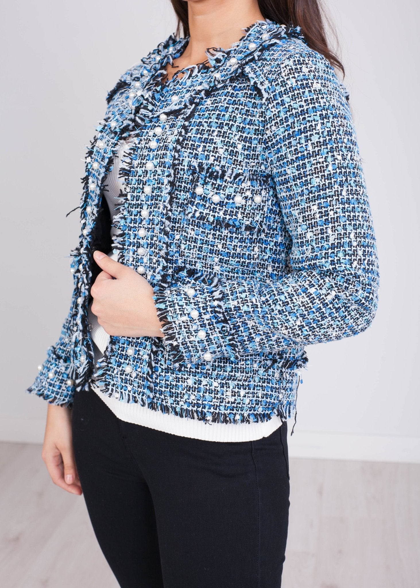 Emilia Black and Blue Tweed Jacket - The Walk in Wardrobe