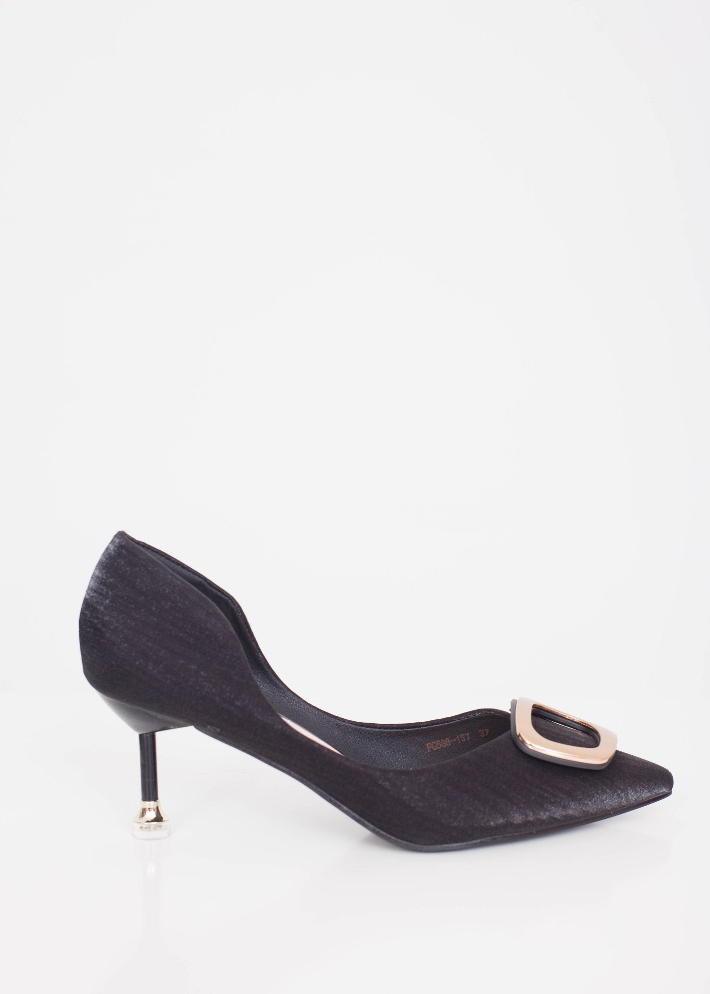Emilia Black Buckle Heels - The Walk in Wardrobe