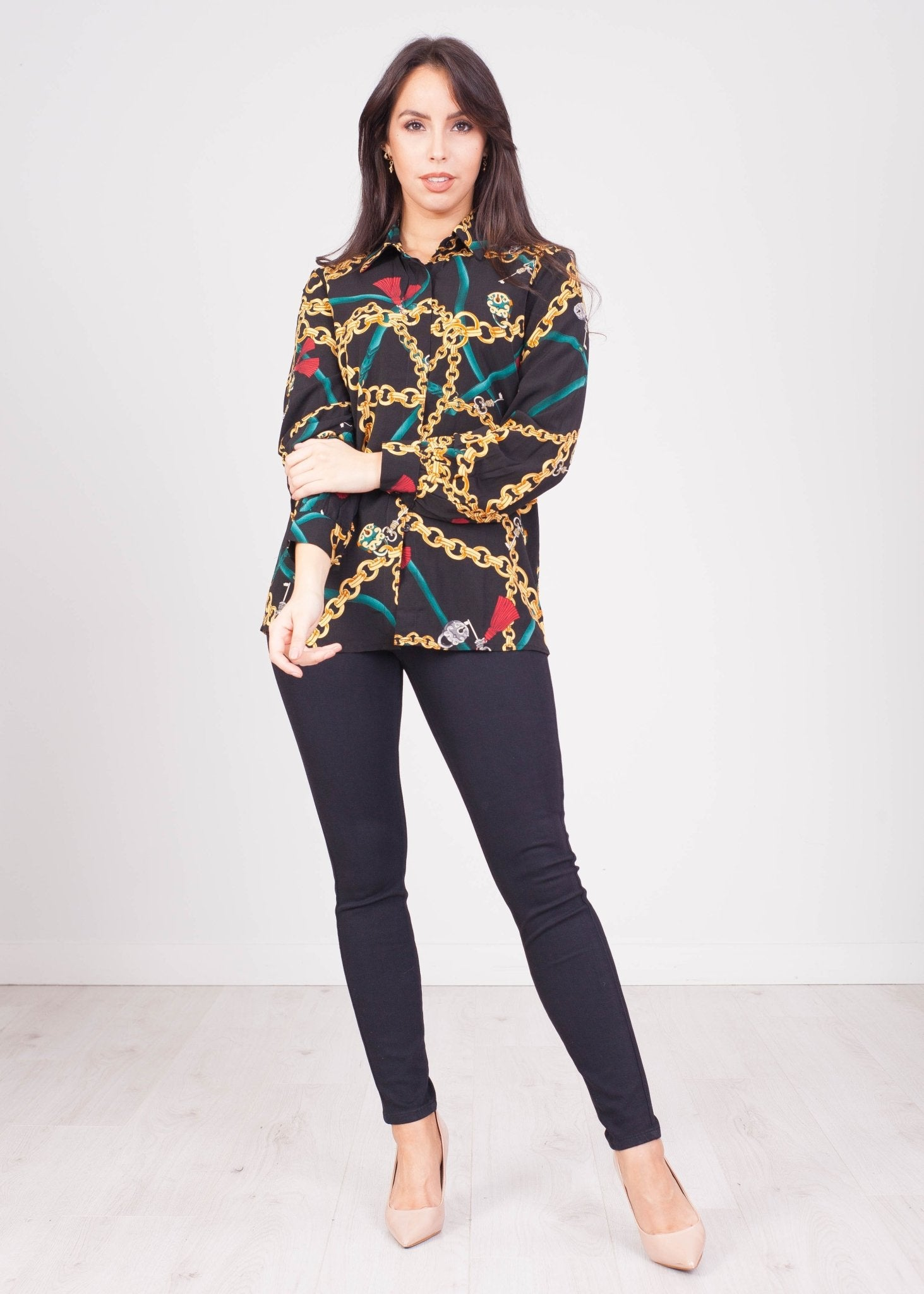 Emilia Black Chain Print Shirt - The Walk in Wardrobe