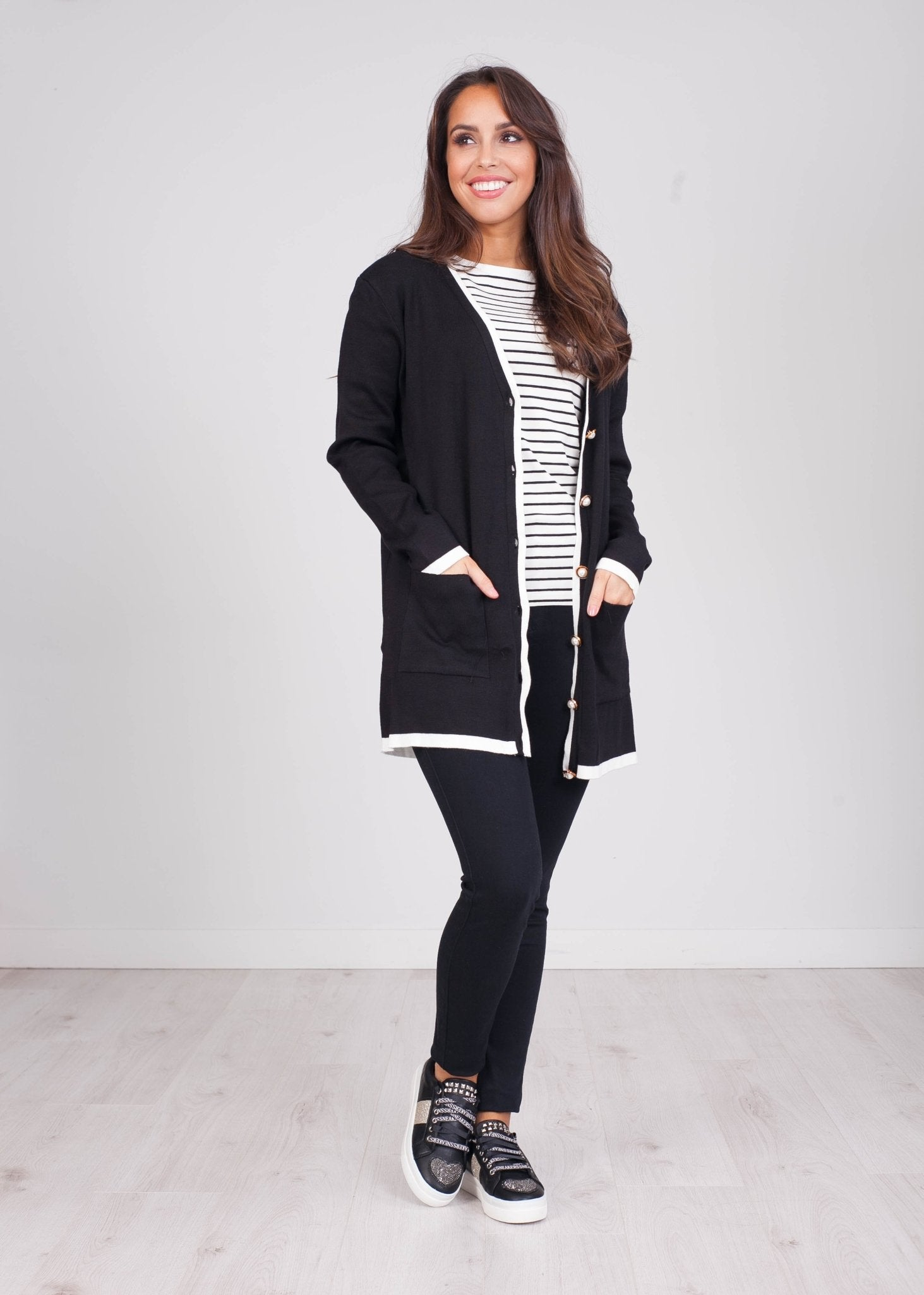 Emilia Black & Cream Trim Cardigan - The Walk in Wardrobe