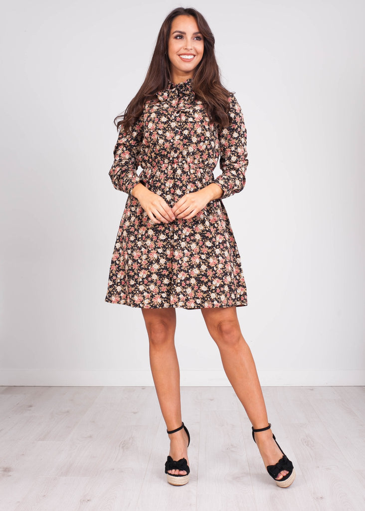 Emilia Black Floral Mini Dress - The Walk in Wardrobe