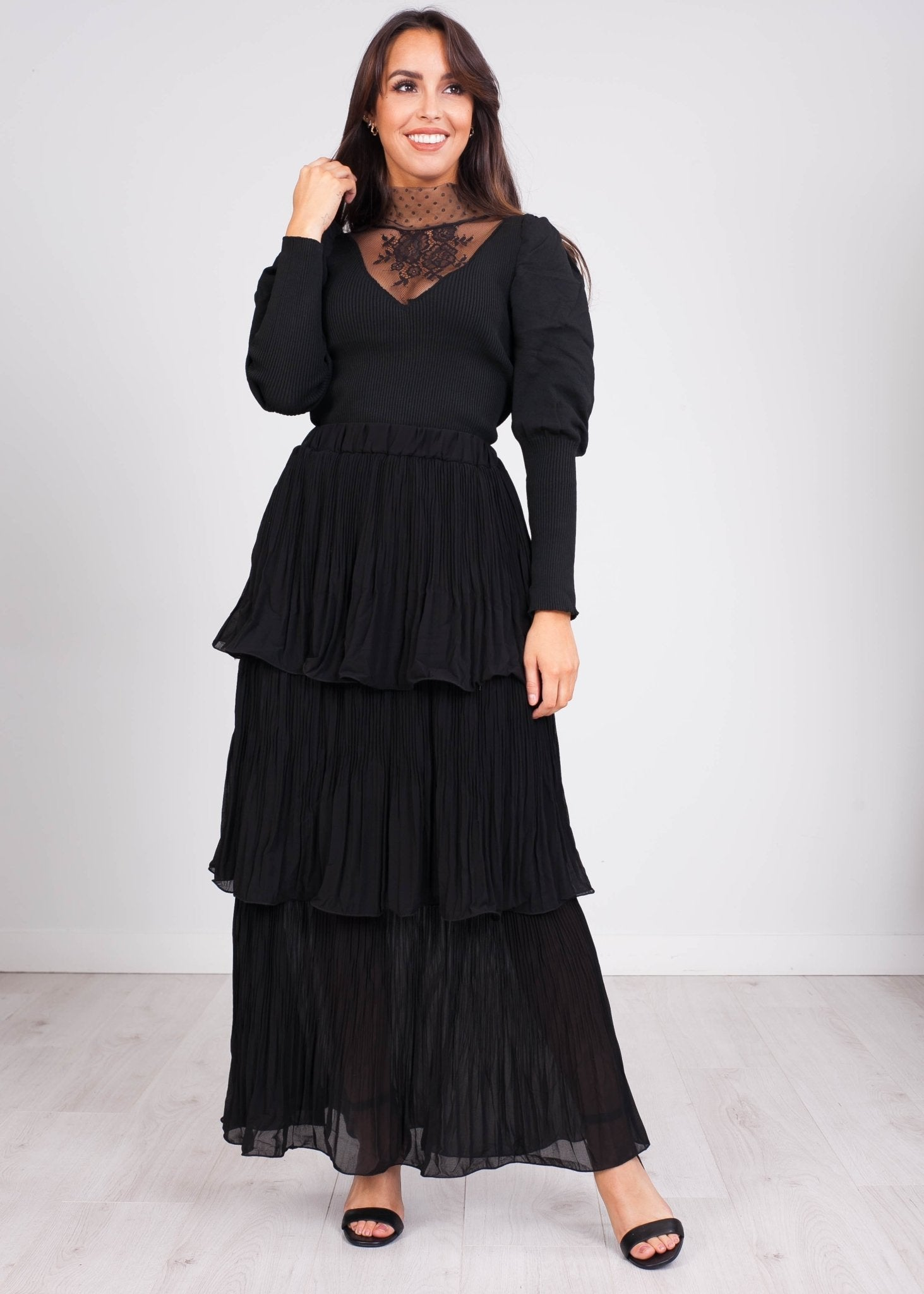 Emilia Black Jumper with Lace - The Walk in Wardrobe