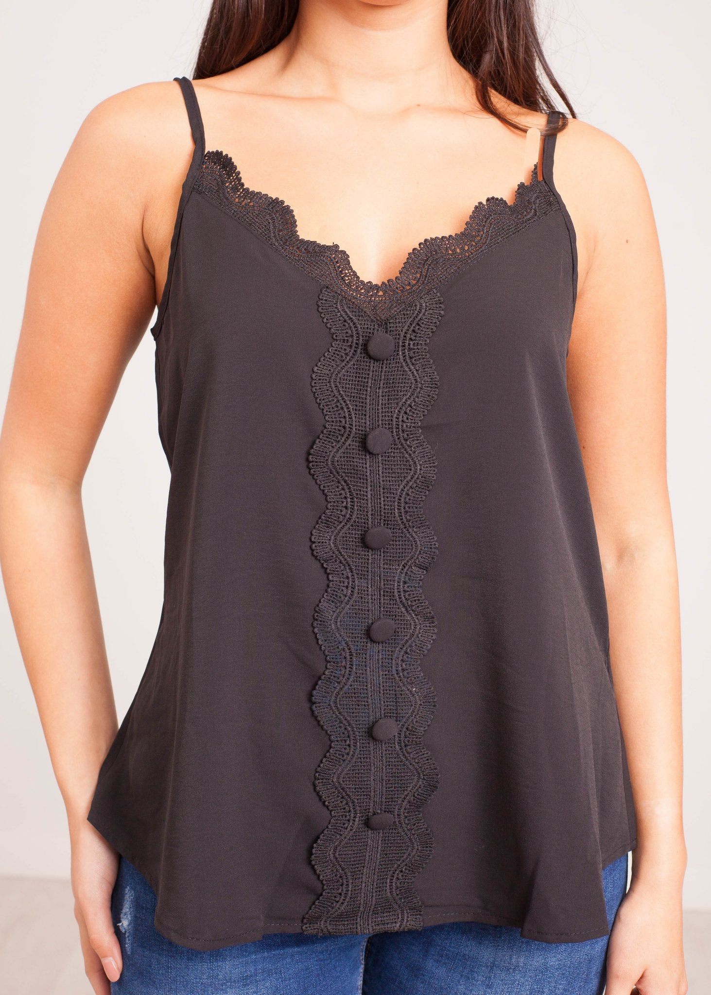 Emilia Black Lace Cami with Buttons - The Walk in Wardrobe