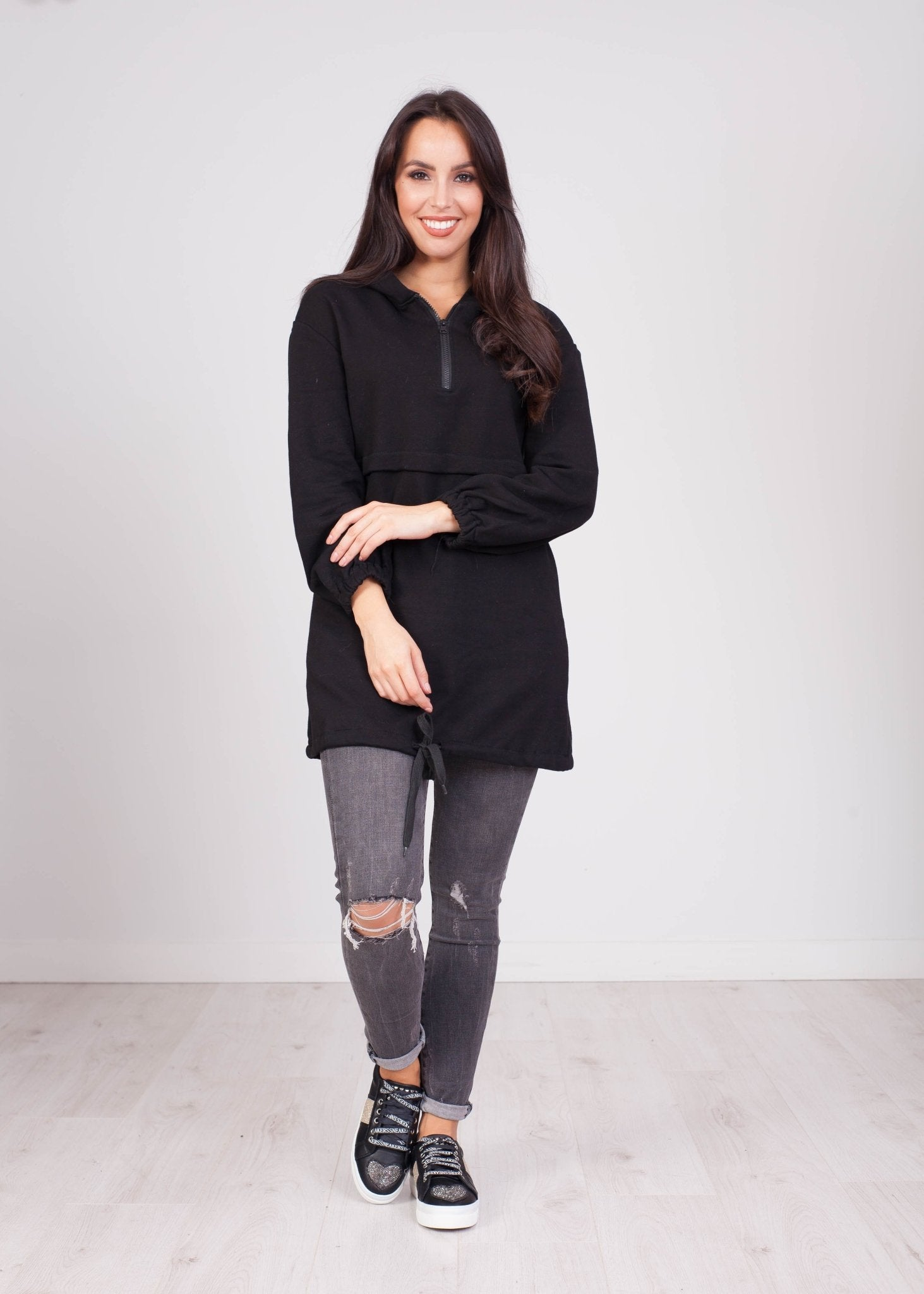 Emilia Black Longline Hoodie - The Walk in Wardrobe