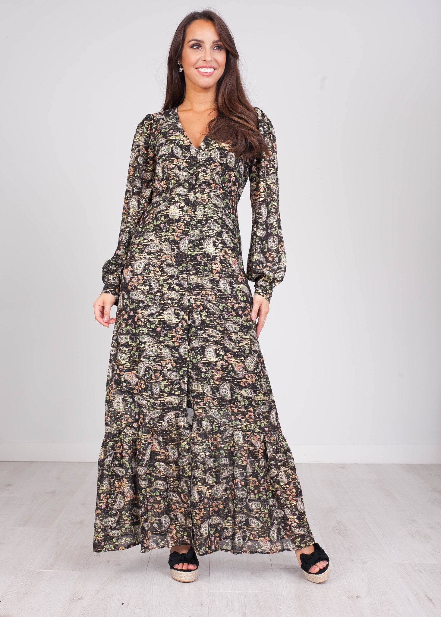 Emilia Black Paisley Printed Dress - The Walk in Wardrobe