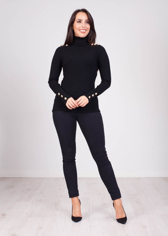 Emilia Black Polo Neck - The Walk in Wardrobe