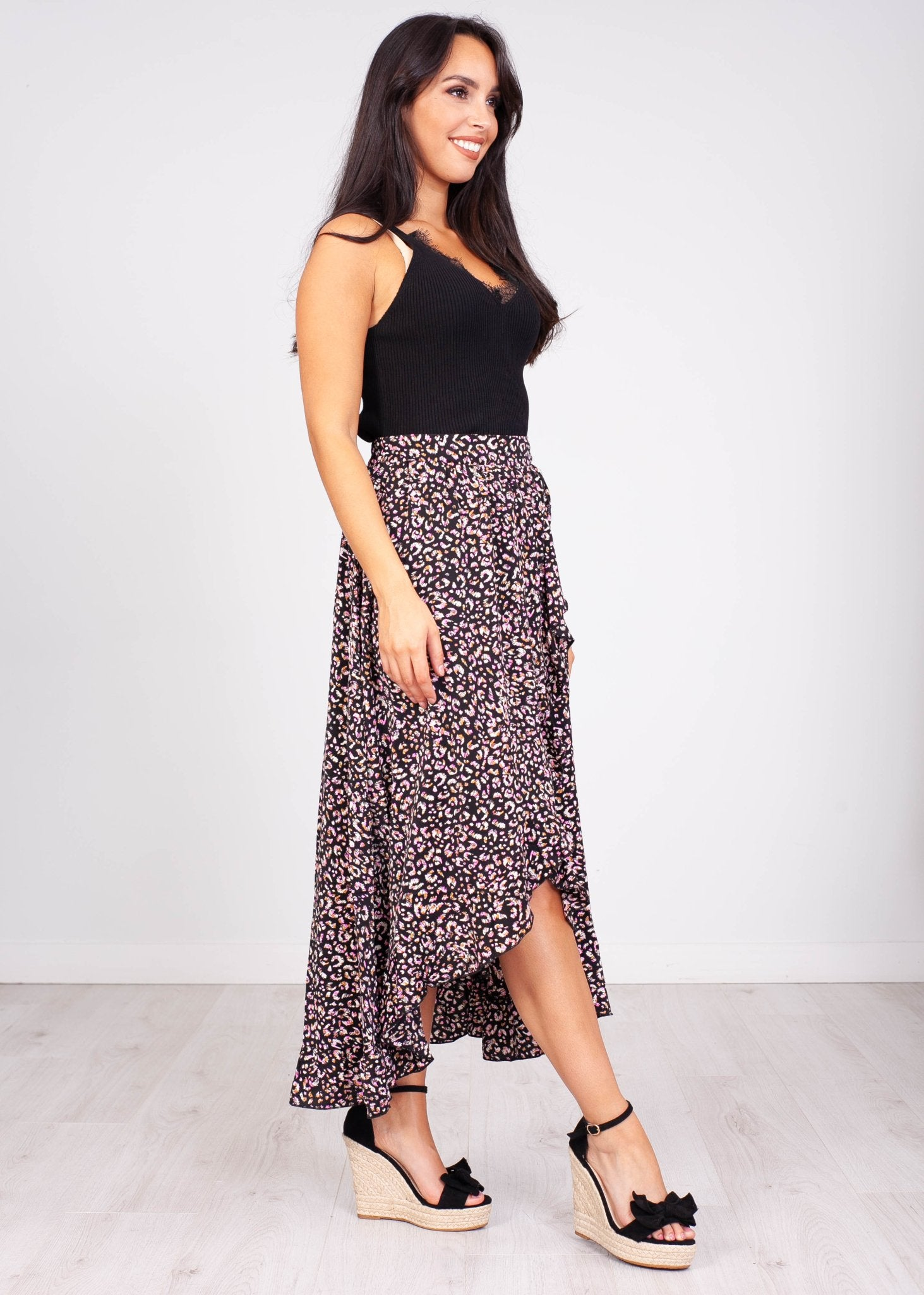 Emilia Black Print Midi Skirt - The Walk in Wardrobe