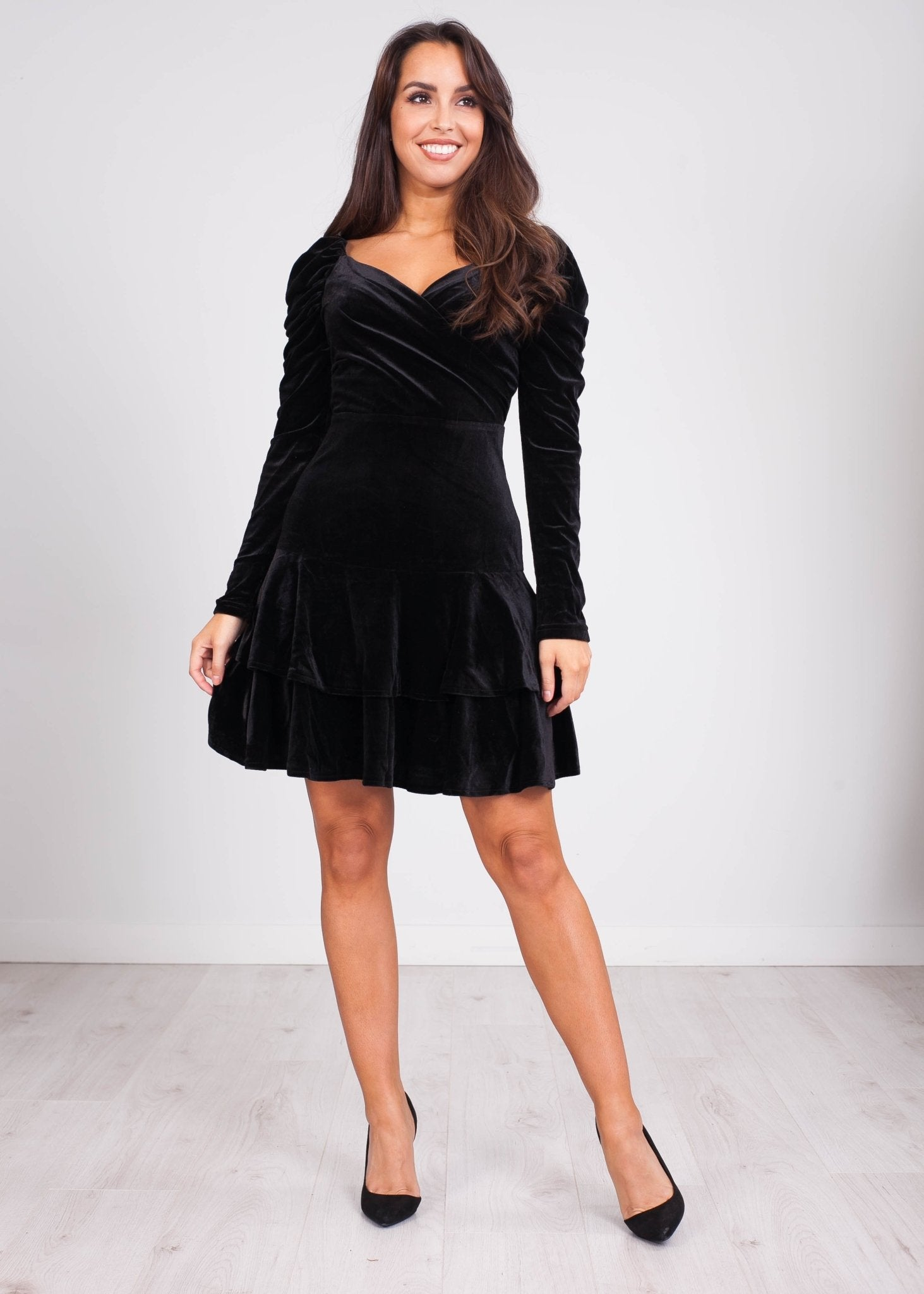 Emilia Black Velvet Mini Dress - The Walk in Wardrobe