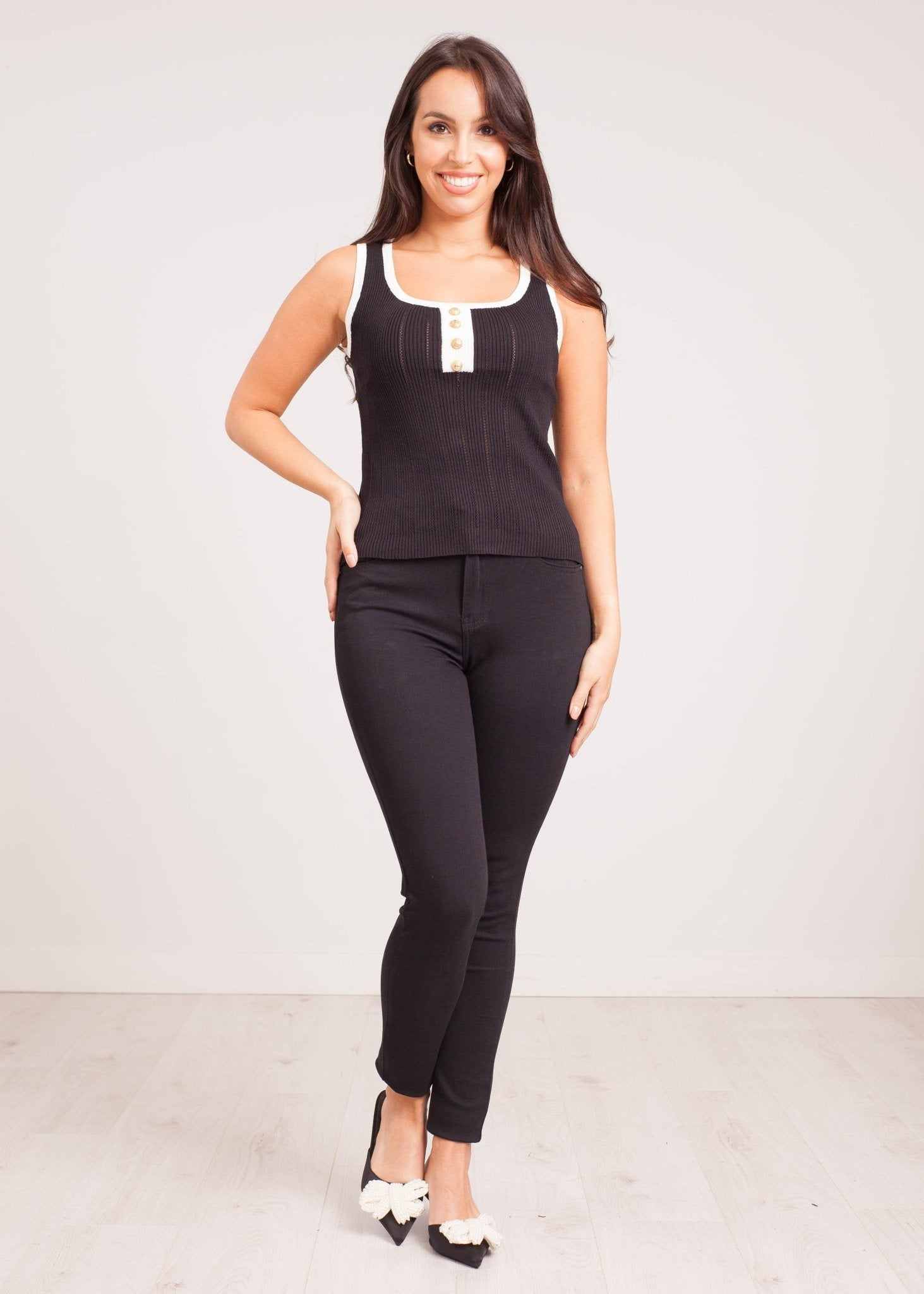 Emilia Black Vest Top with Buttons - The Walk in Wardrobe