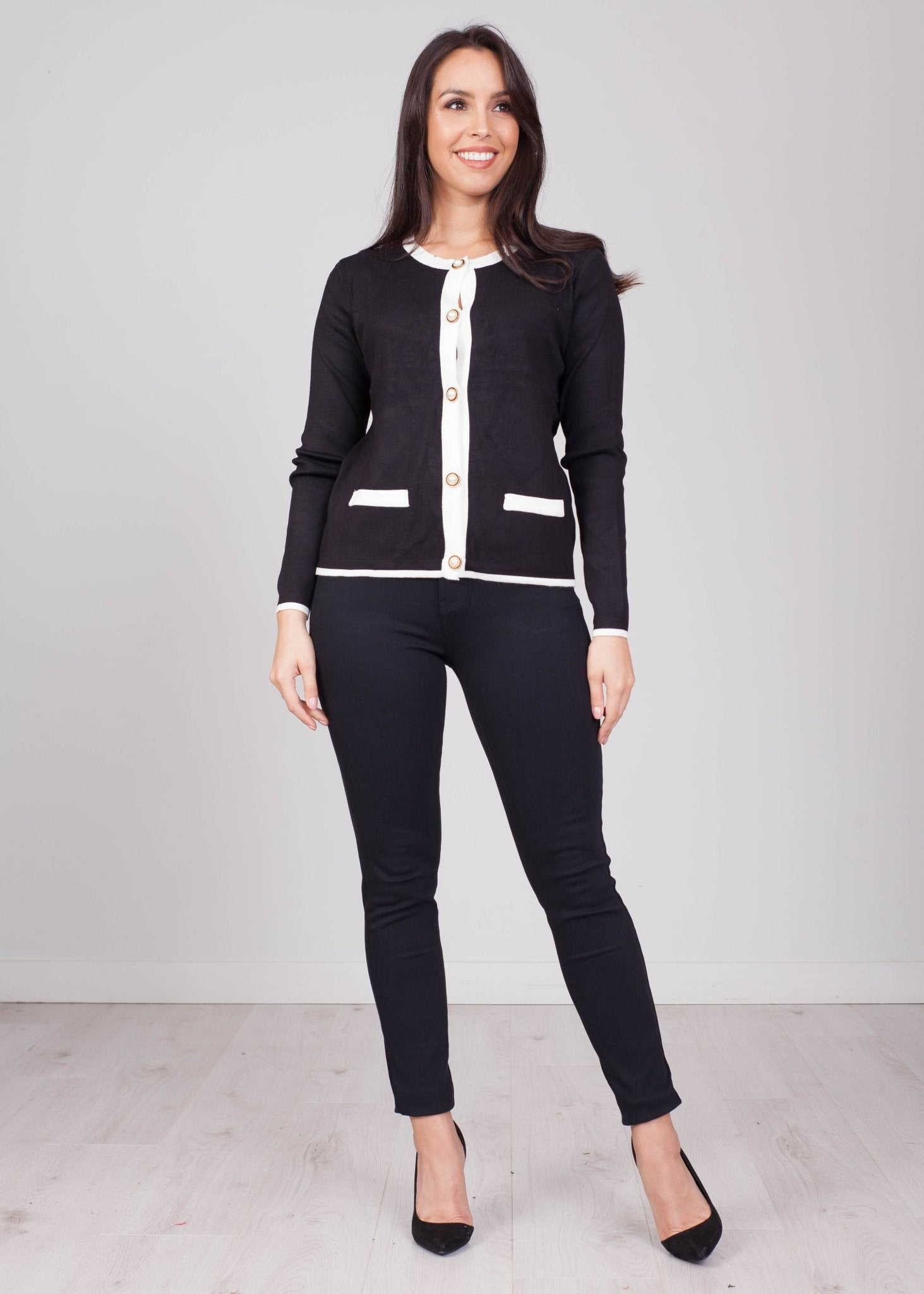 Emilia Black with White Trim Crop Cardigan - The Walk in Wardrobe