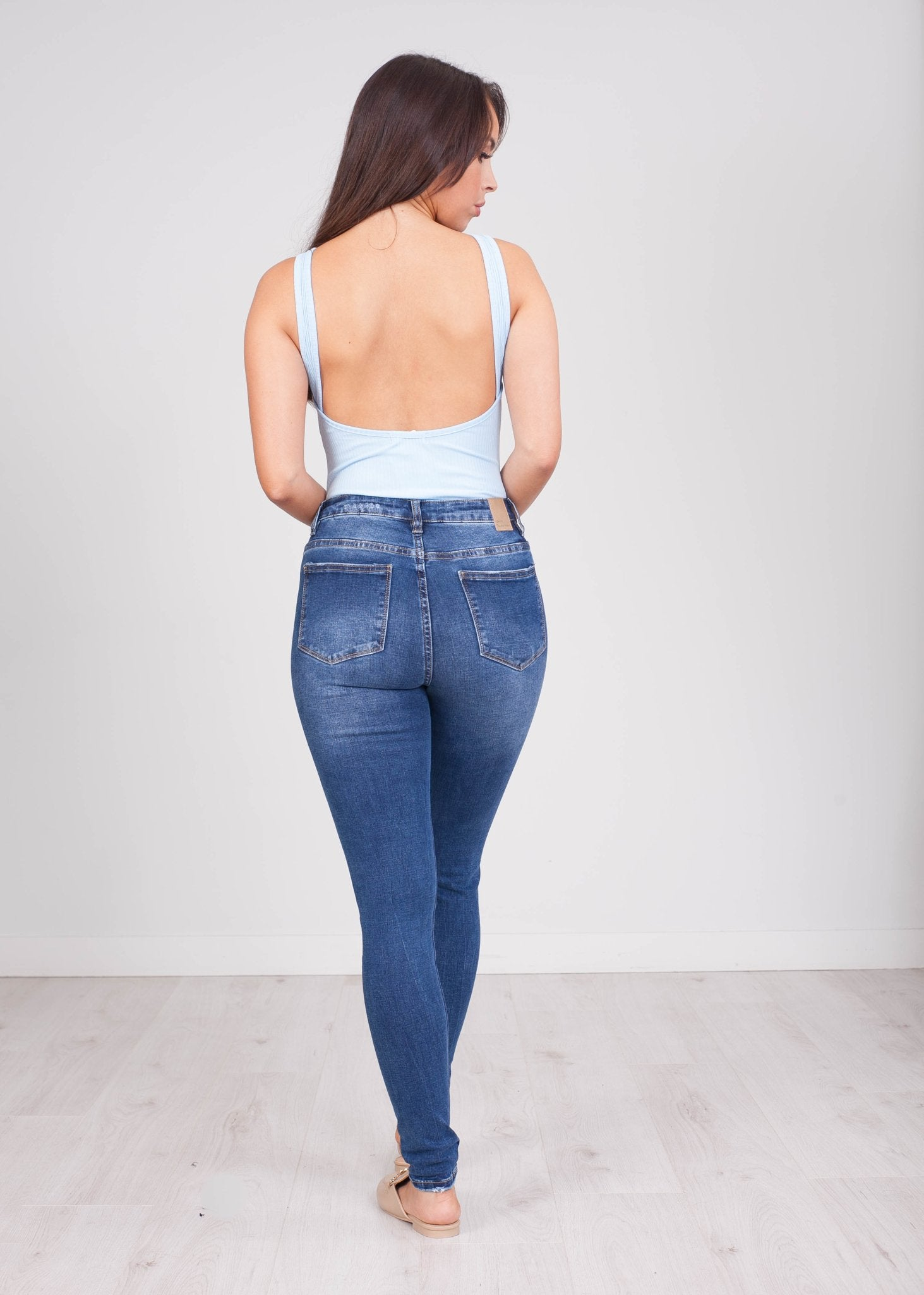 Emilia Blue Low Back Bodysuit - The Walk in Wardrobe