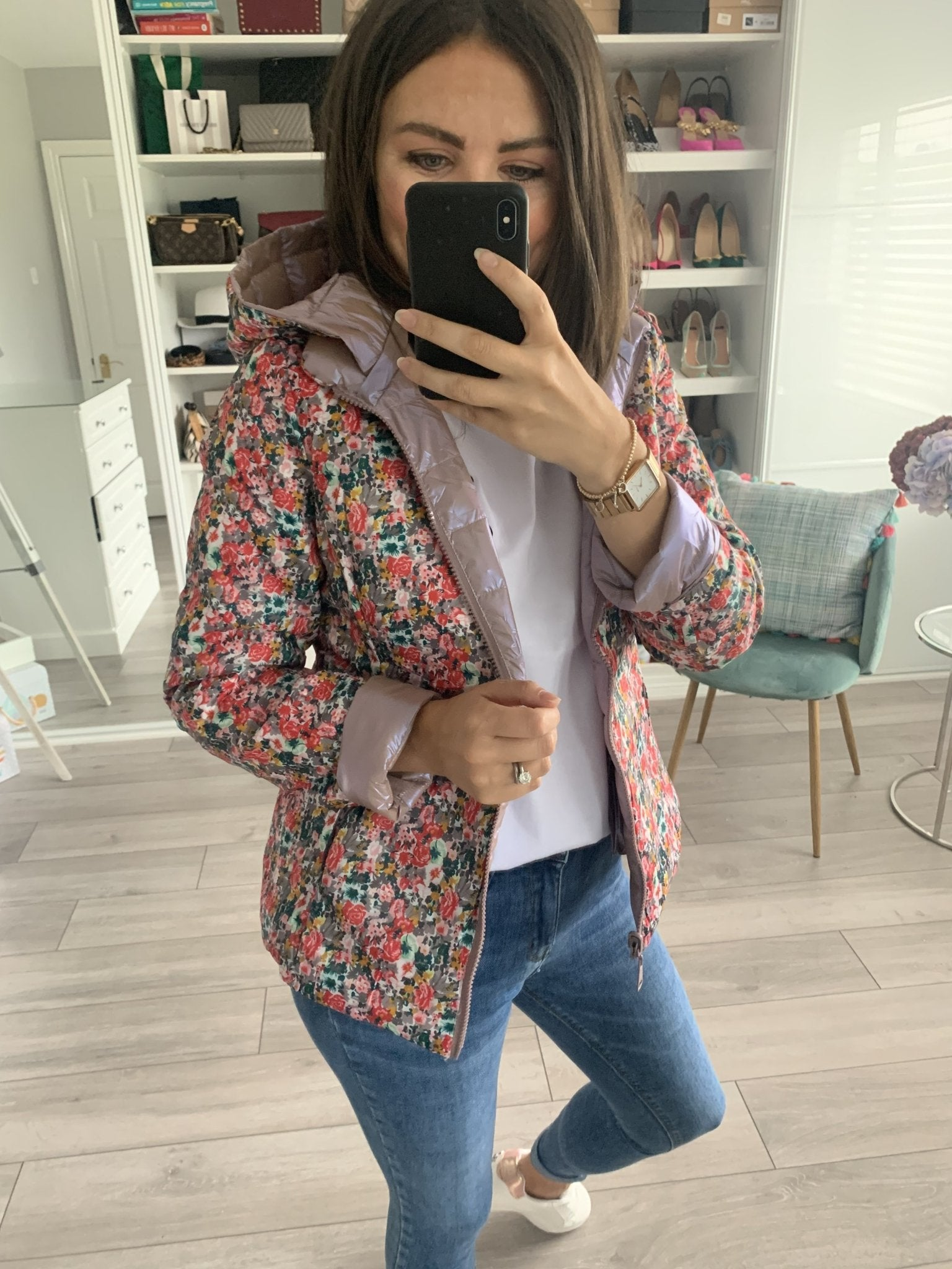 Emilia Blush & Floral Reversible Coat - The Walk in Wardrobe