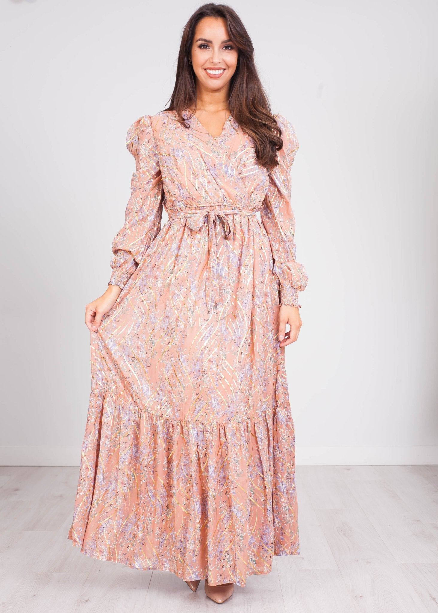 Emilia Blush & Gold Floral Midi Dress - The Walk in Wardrobe