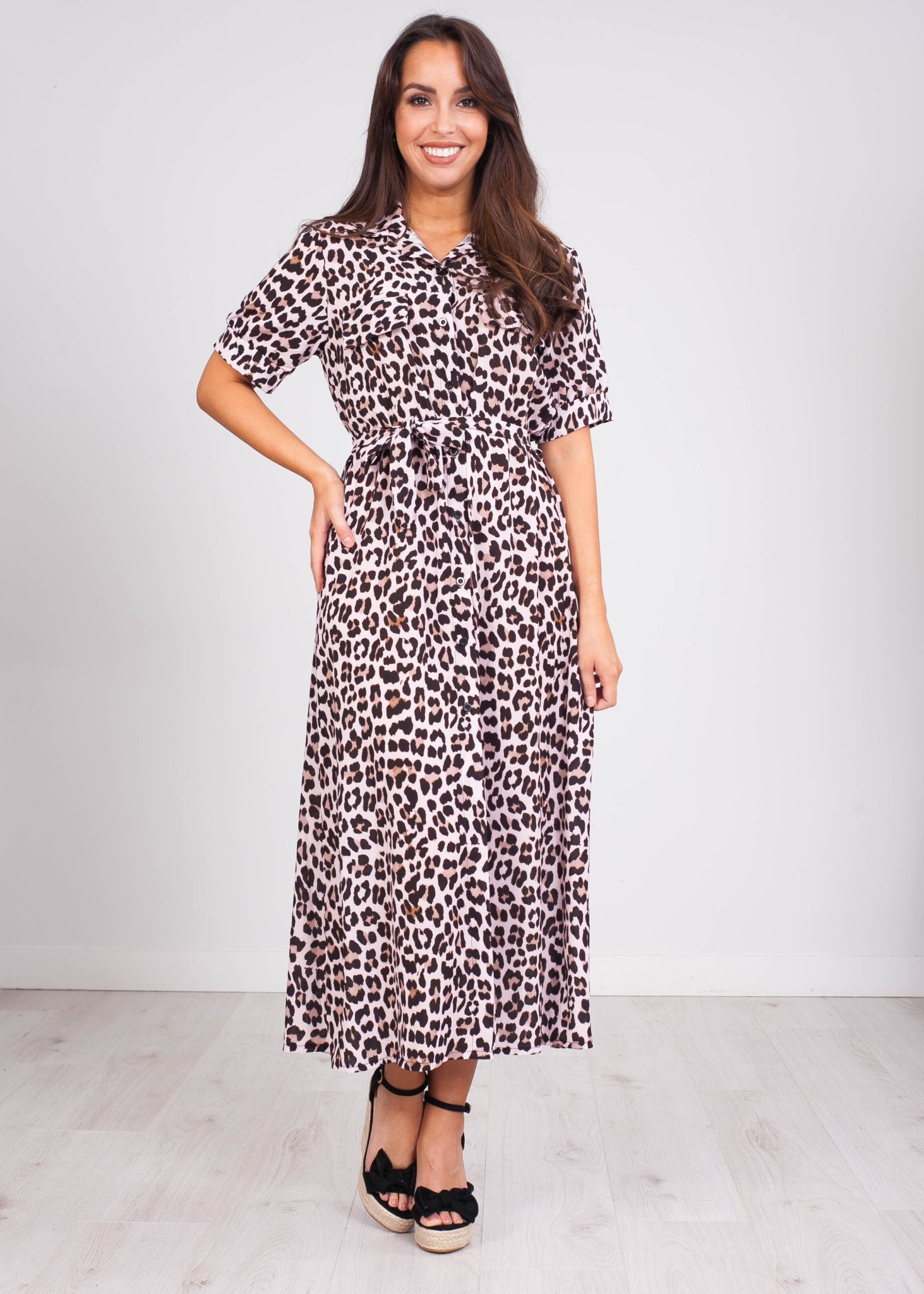 Emilia Blush Leopard Midi Dress - The Walk in Wardrobe