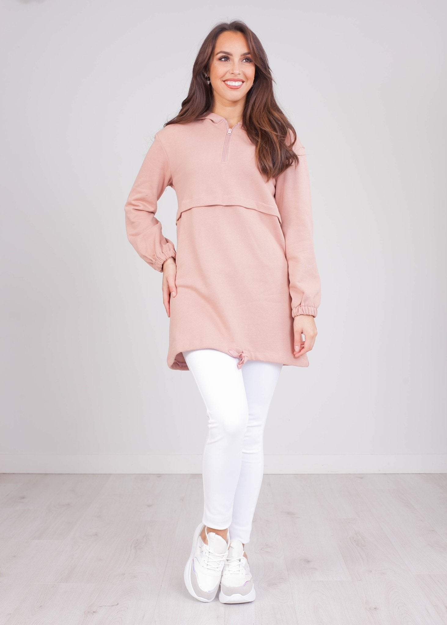 Emilia Blush Longline Hoodie - The Walk in Wardrobe