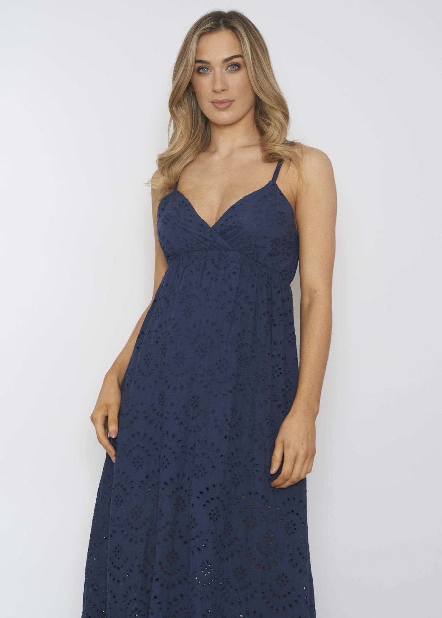 Emilia Broderie Anglaise Dress In Navy - The Walk in Wardrobe