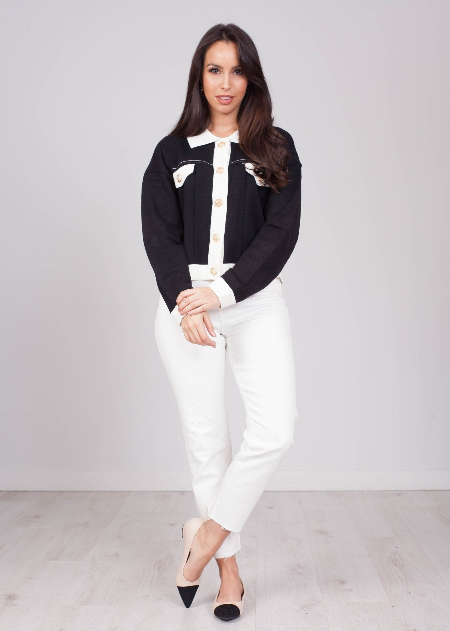 Emilia Button up Cardigan in Black and Cream - The Walk in Wardrobe