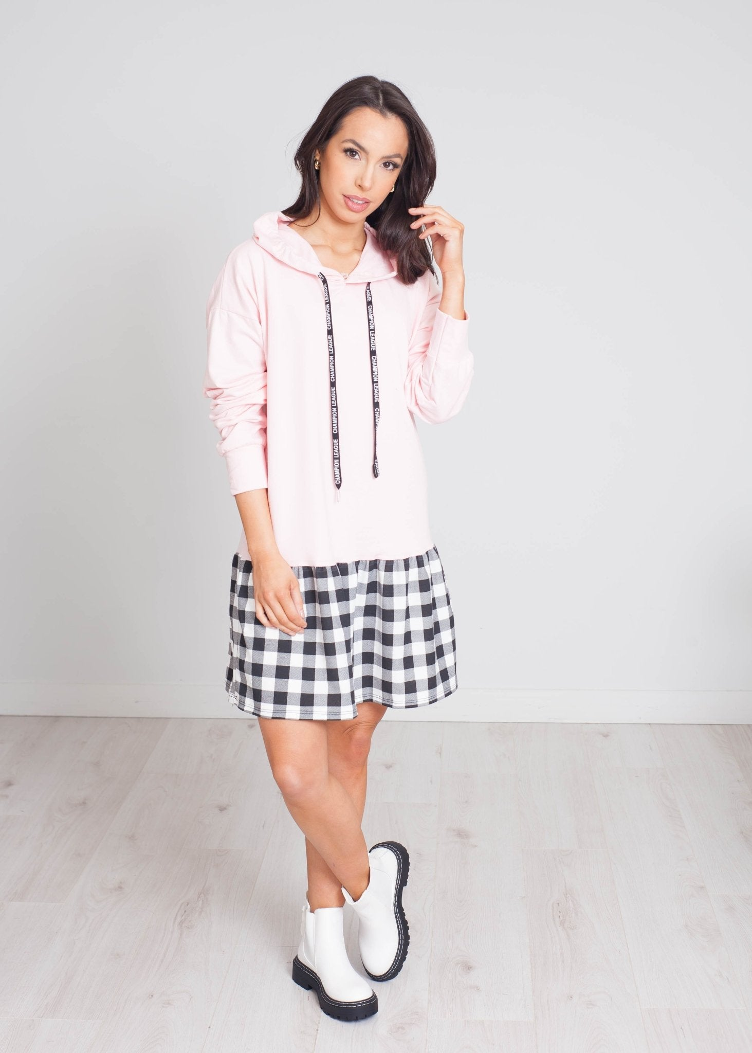 Emilia Check Hem Hoodie Dress In Pink - The Walk in Wardrobe